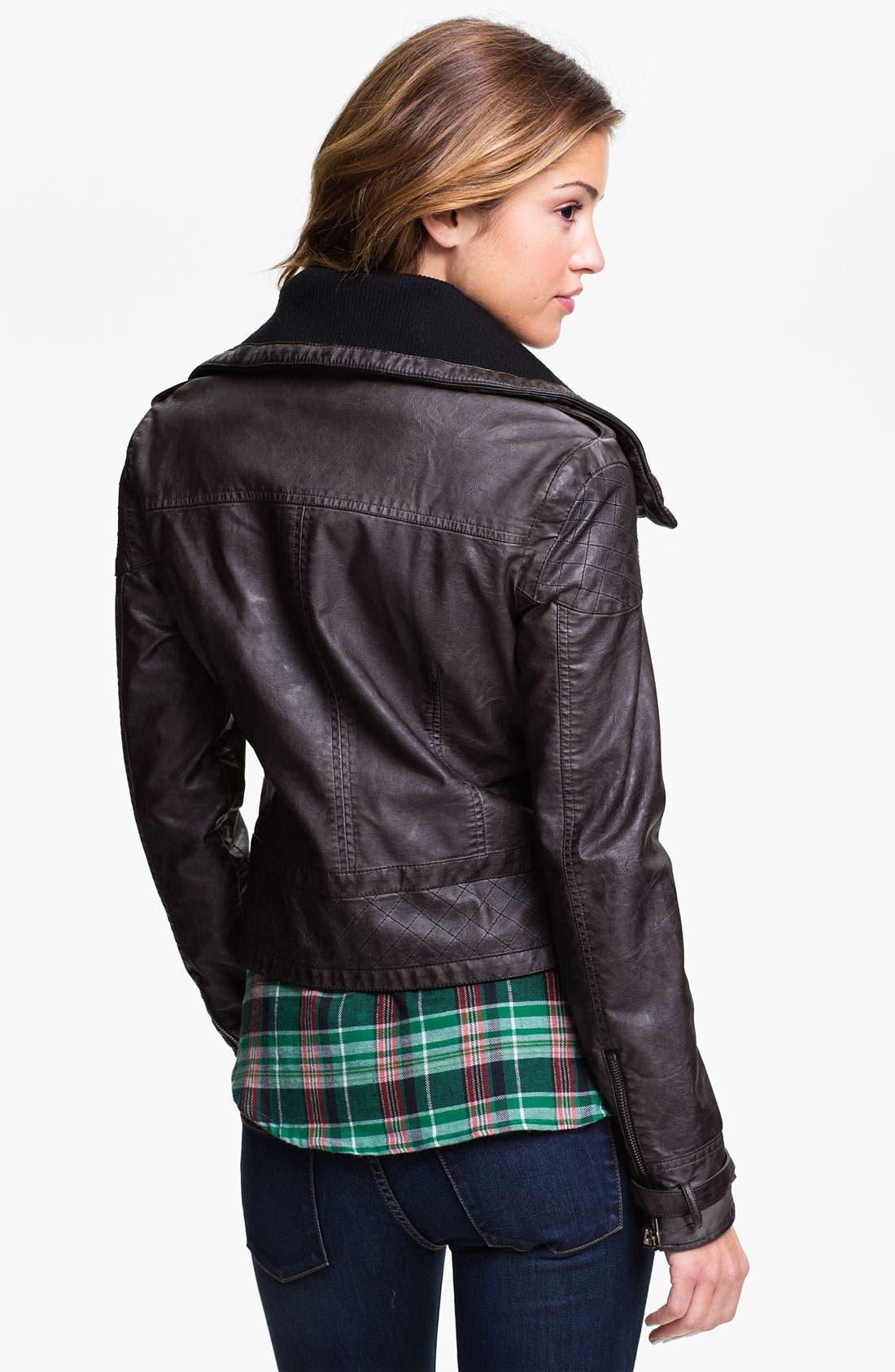Alternate Image 2  - Jou Jou Knit Collar Moto Jacket (Juniors)