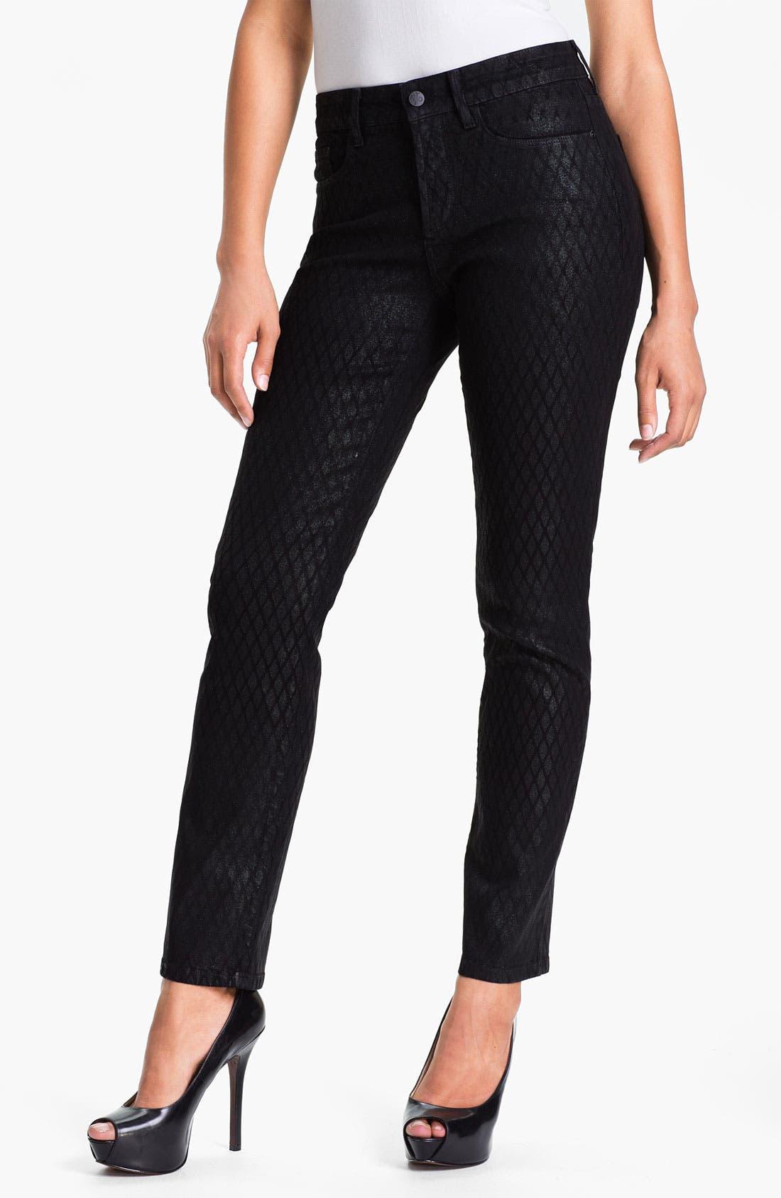Main Image - NYDJ 'Sheri' Geometric Glitter Coated Skinny Stretch Jeans