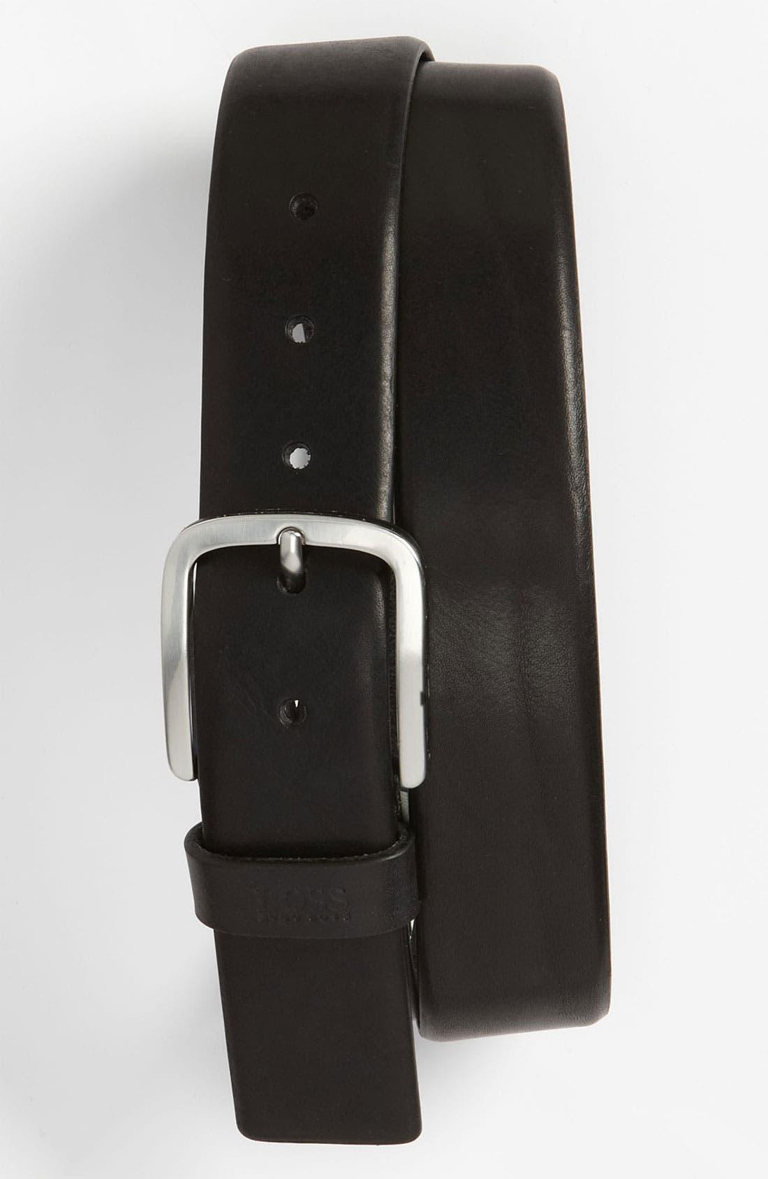 Alternate Image 1 Selected - BOSS Black 'Sun' Leather Belt
