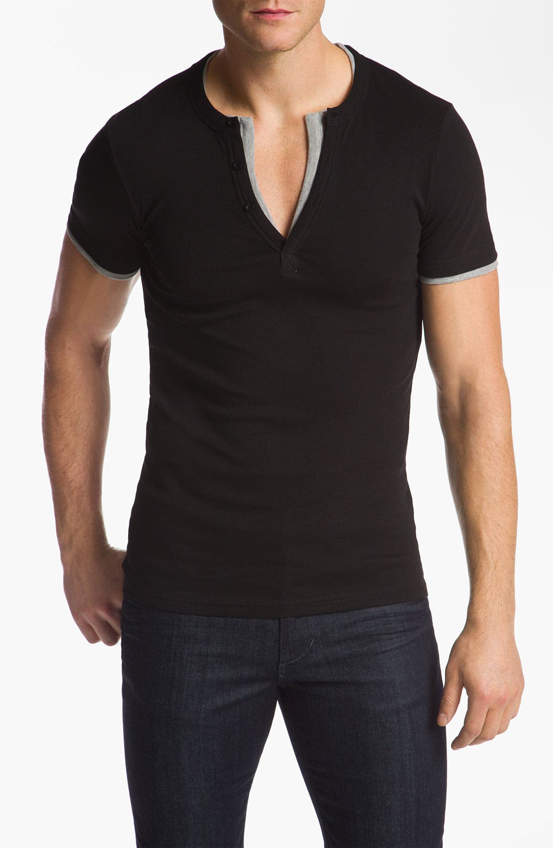 Alternate Image 1 Selected - J.C. Rags Extra Trim Fit Short Sleeve Henley