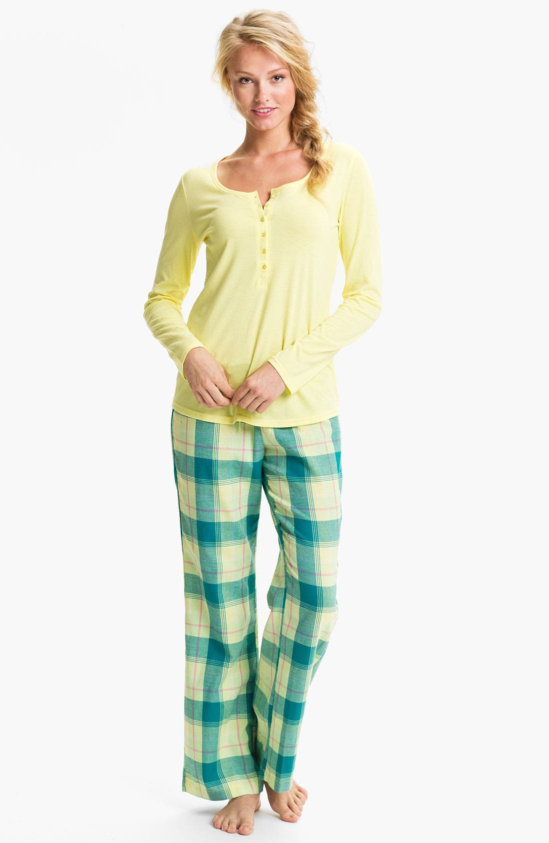 Alternate Image 1 Selected - Nordstrom Henley Flannel Pajamas