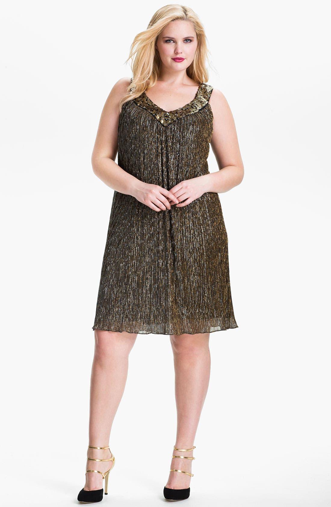 Main Image - Donna Ricco Sequin Metallic Trapeze Dress (Plus Size)