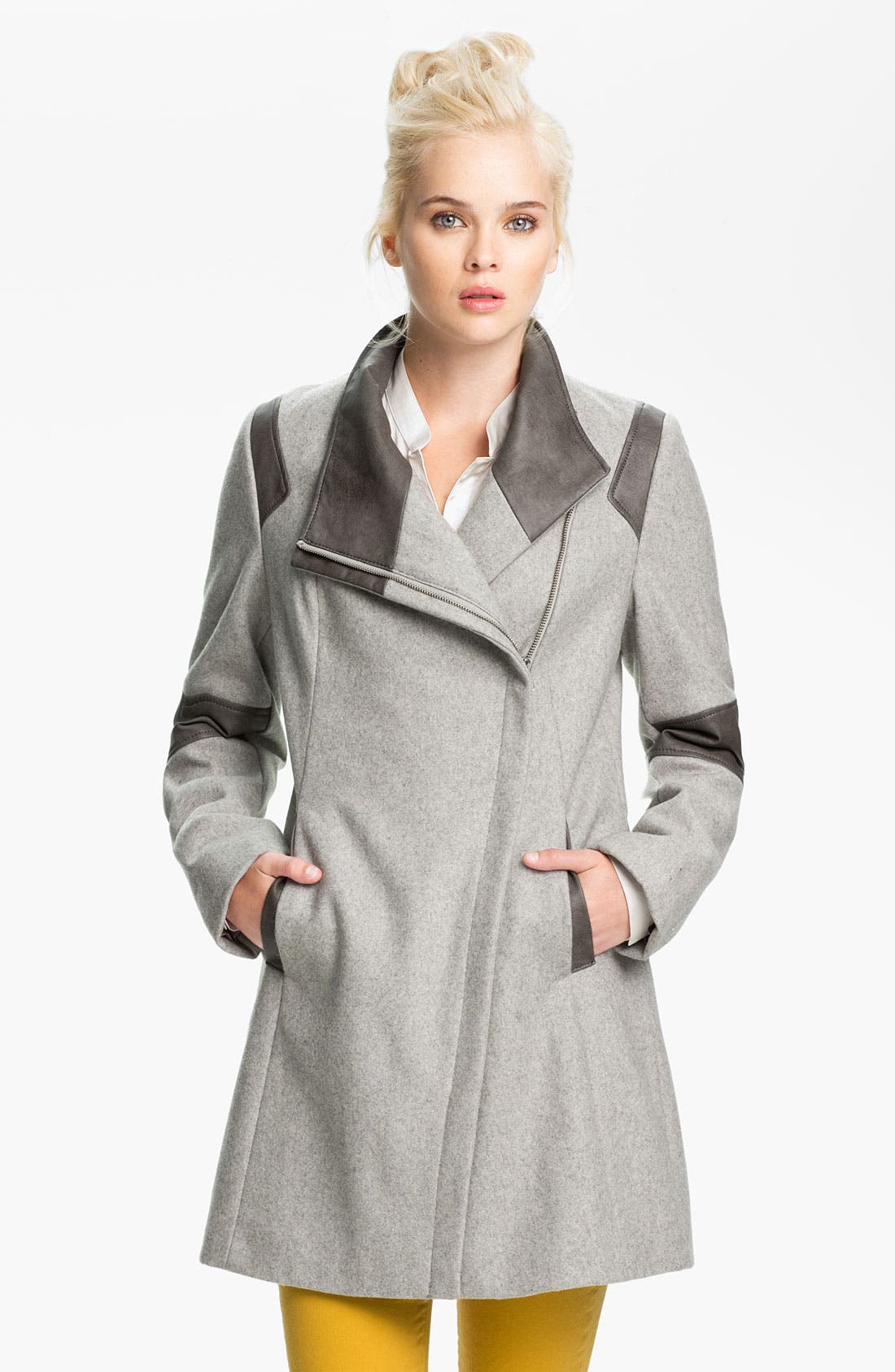 Alternate Image 1 Selected - Calvin Klein Faux Leather Trim Walking Coat