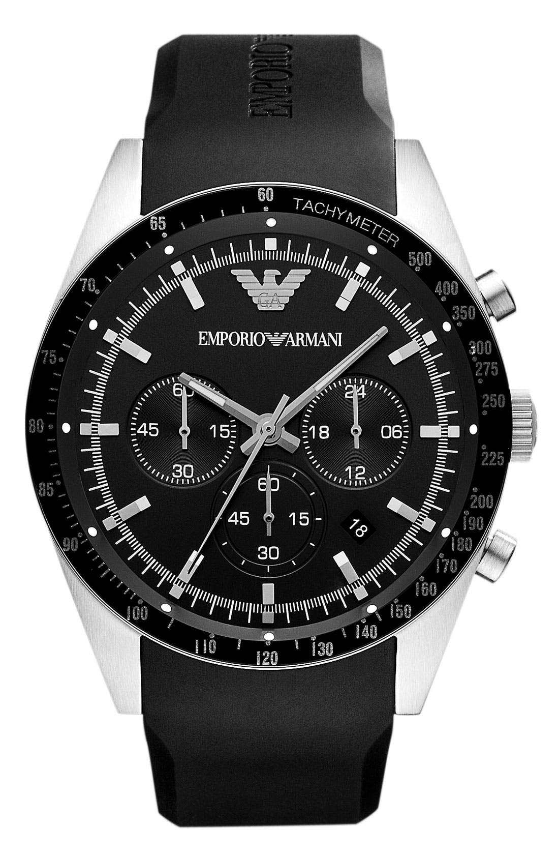 Alternate Image 1 Selected - Emporio Armani Tachymeter Bezel Chronograph Watch