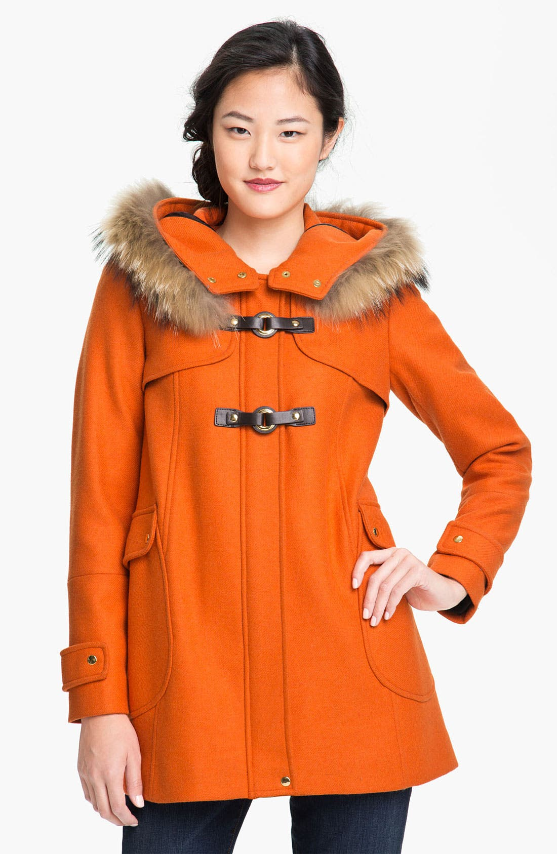 Alternate Image 1 Selected - Trina Turk Hooded Duffle Coat with Genuine Coyote Fur Trim