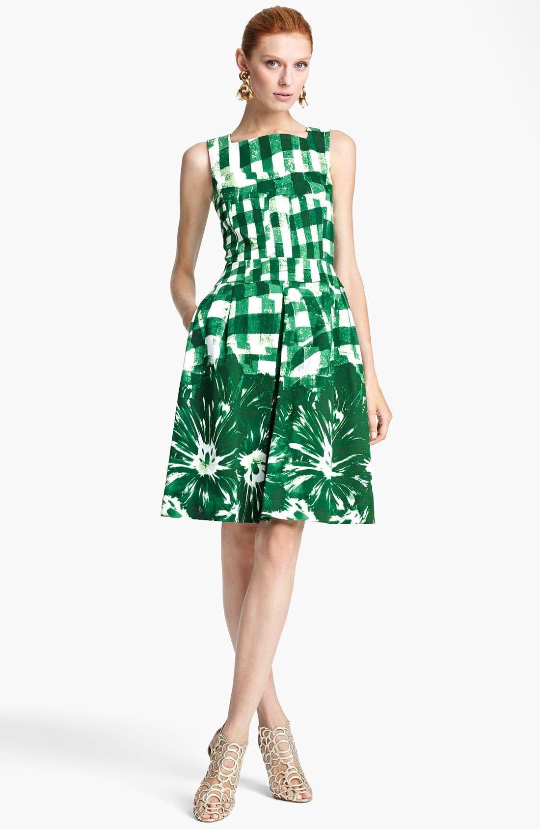 Alternate Image 1 Selected - Oscar de la Renta Print Piqué Dress