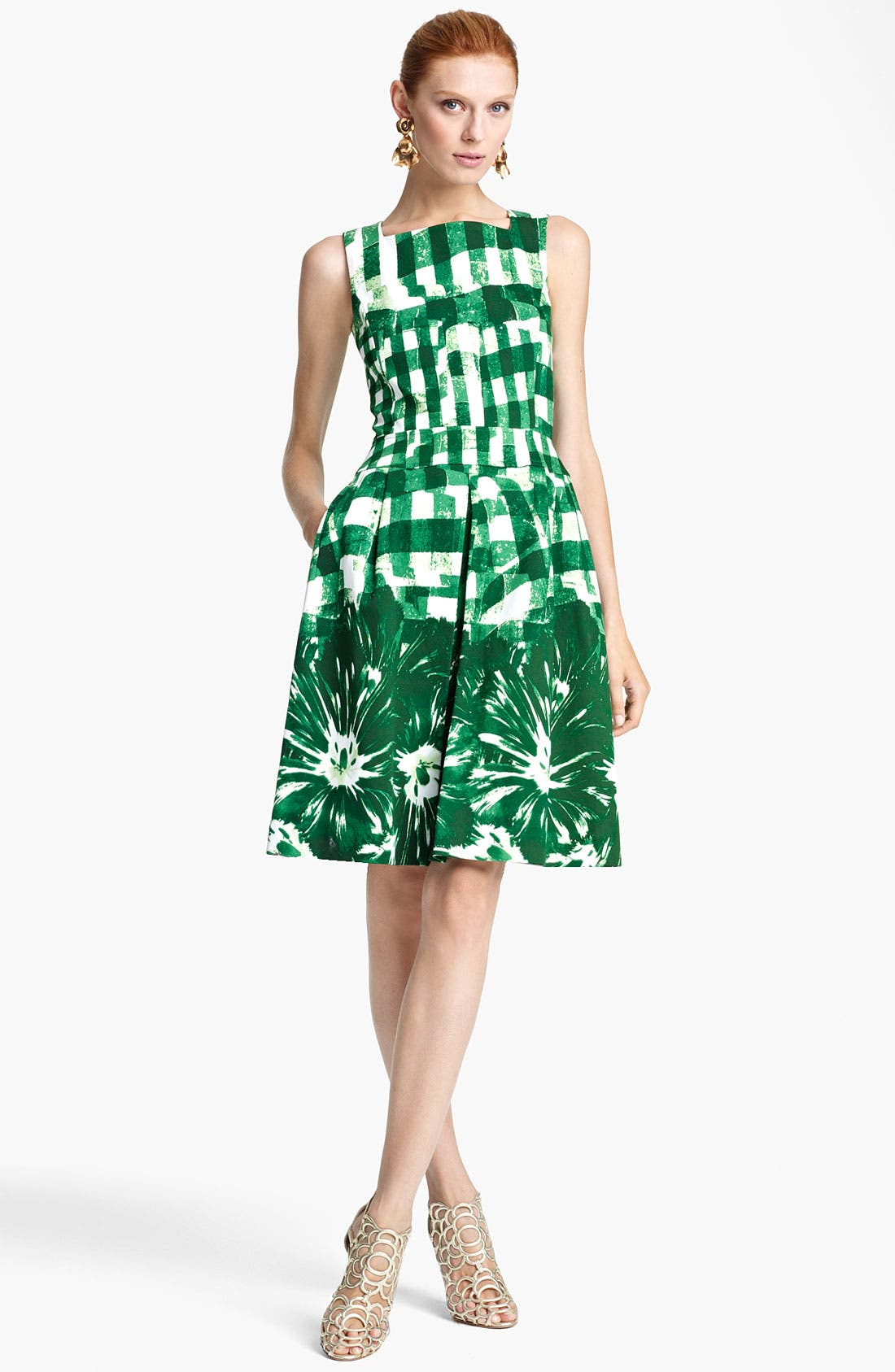 Main Image - Oscar de la Renta Print Piqué Dress