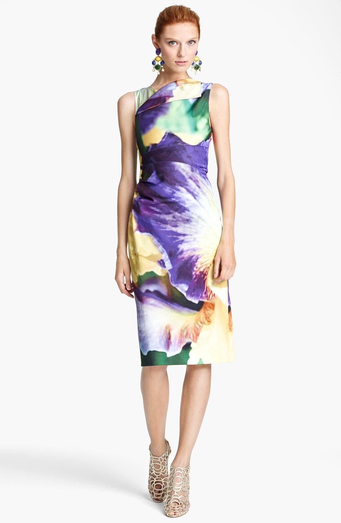 Alternate Image 1 Selected - Oscar de la Renta Iris Print Sheath Dress