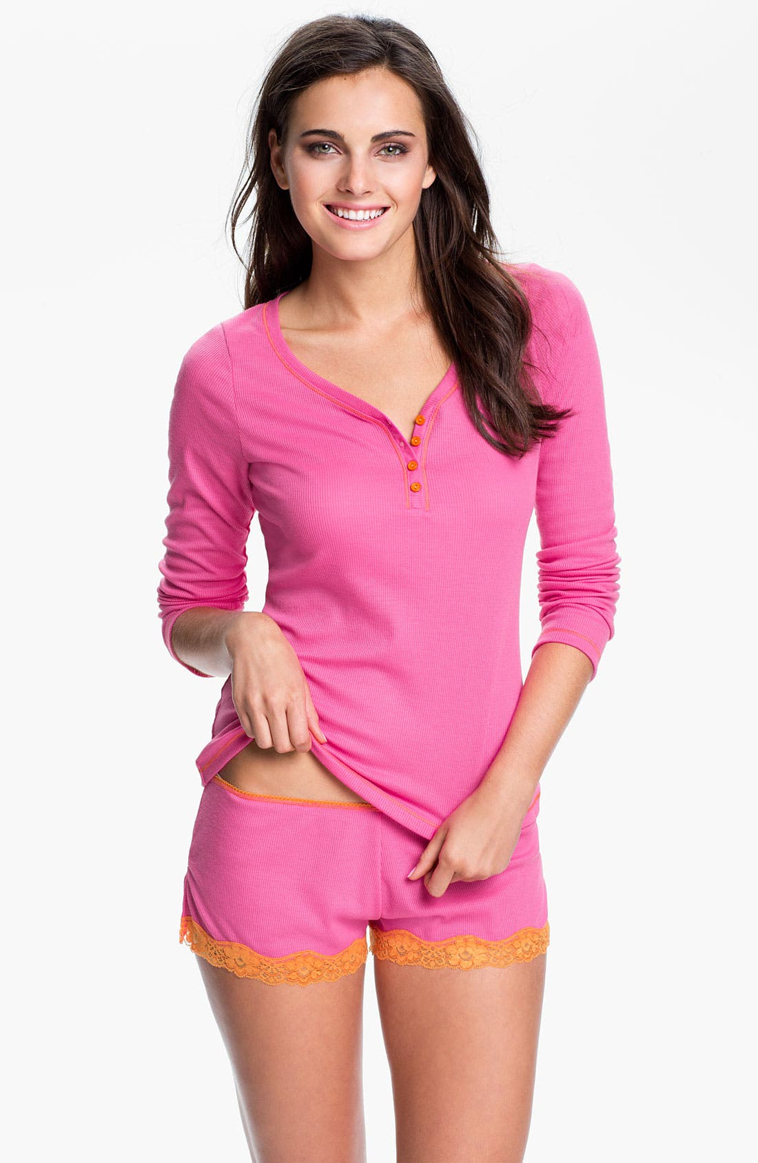 Contrast Trim Pajamas,                         Main,                         color, Hot Pink W/ Dreamsicle