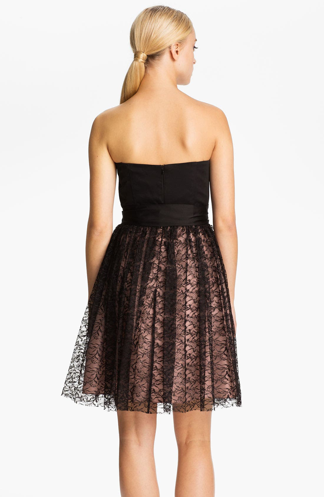 Alternate Image 2  - Max & Cleo 'Rebecca' Strapless Satin & Lace Dress