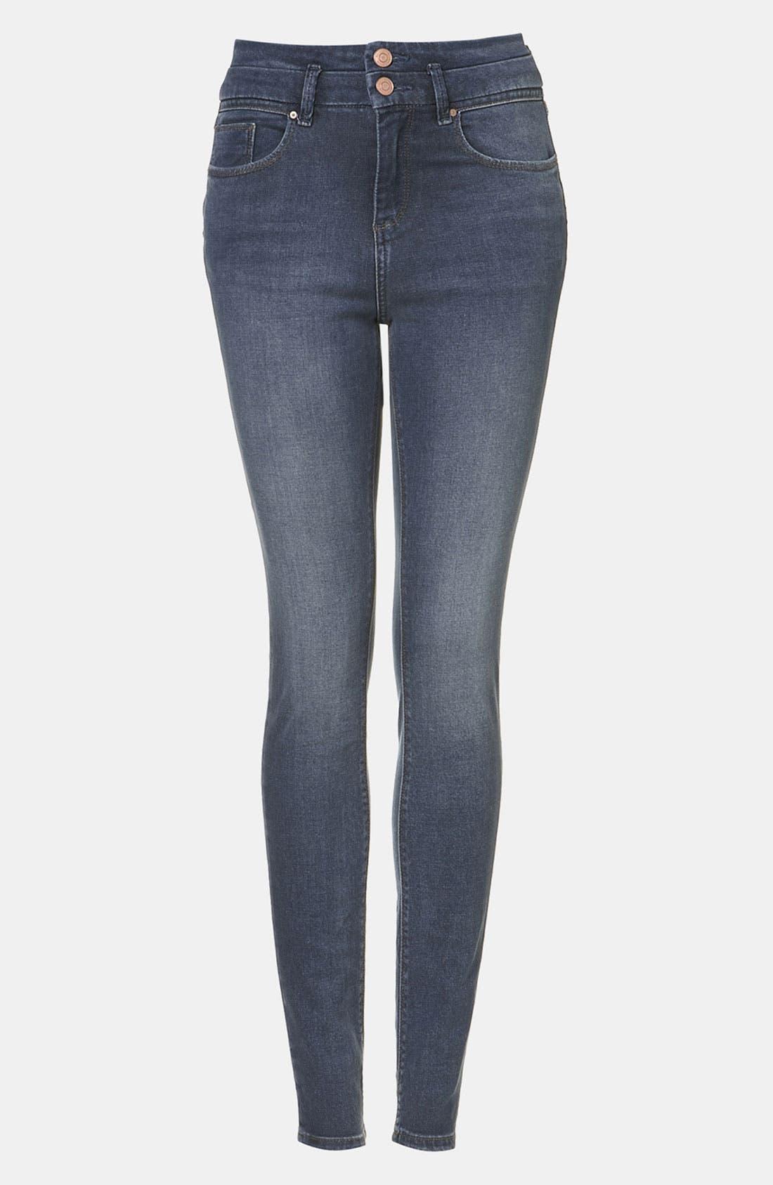 Main Image - Topshop Moto 'Kristen' High Waist Skinny Jeans (Midstone)