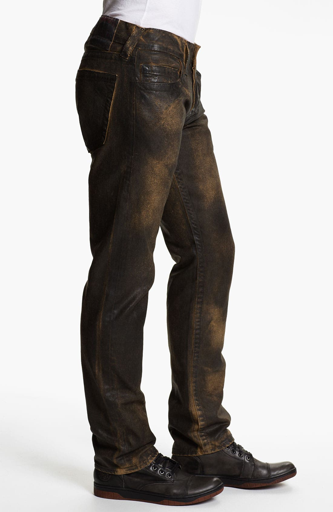 Alternate Image 3  - True Religion Brand Jeans 'Geno' Tapered Straight Leg Jeans (Crackle Coated Black Vintage)
