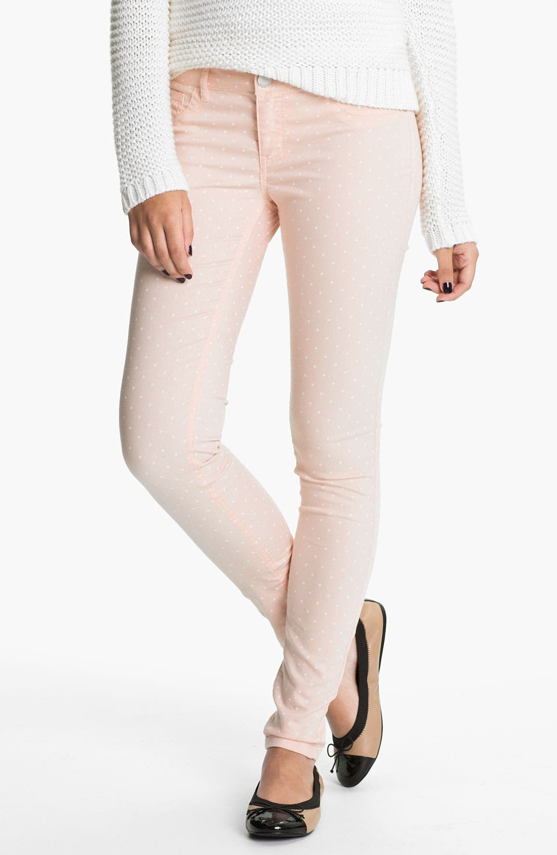 Alternate Image 2  - Fire Polka Dot Skinny Jeans (Juniors)
