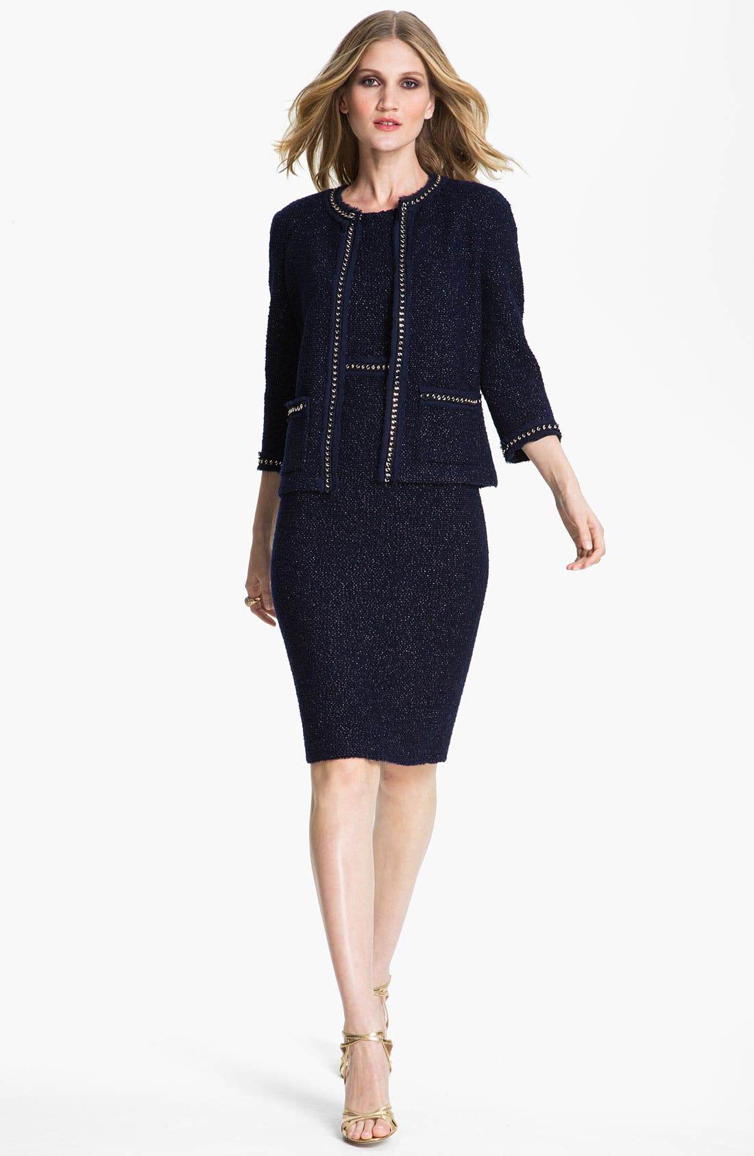 Alternate Image 2  - St. John Collection Shimmer Bouclette Dress
