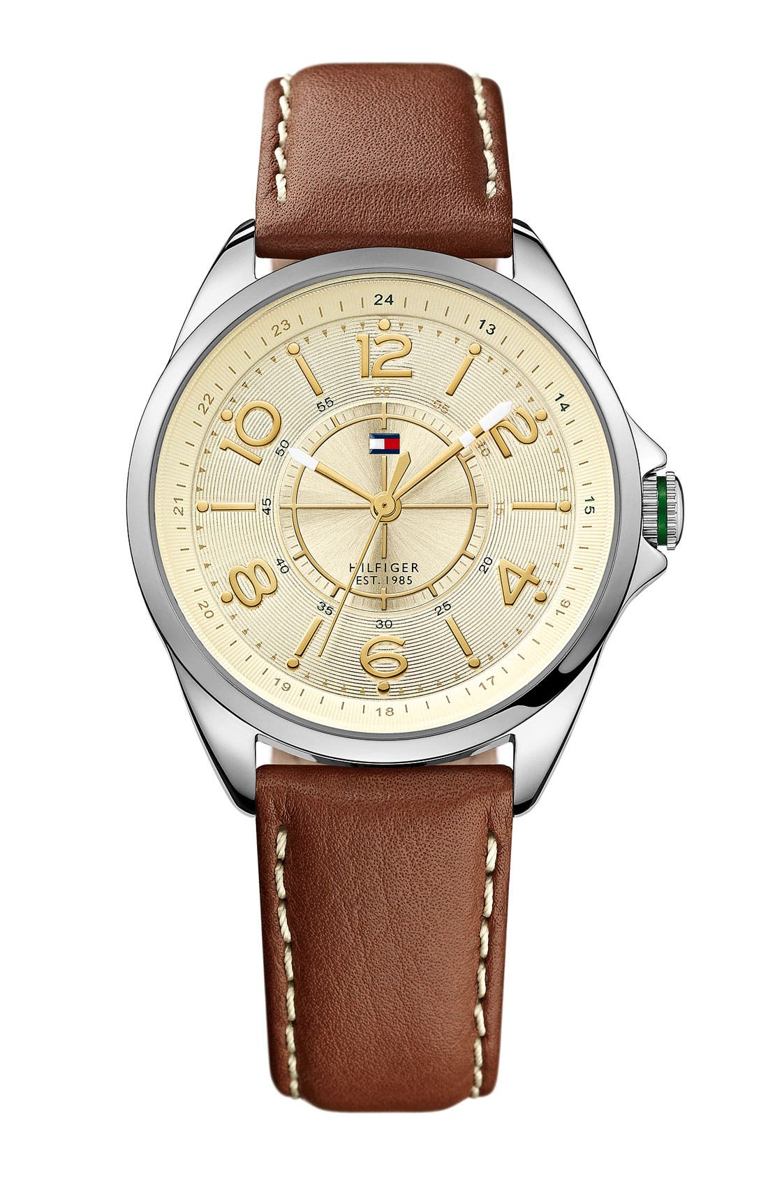 Alternate Image 1 Selected - Tommy Hilfiger Round Leather Strap Watch, 36mm