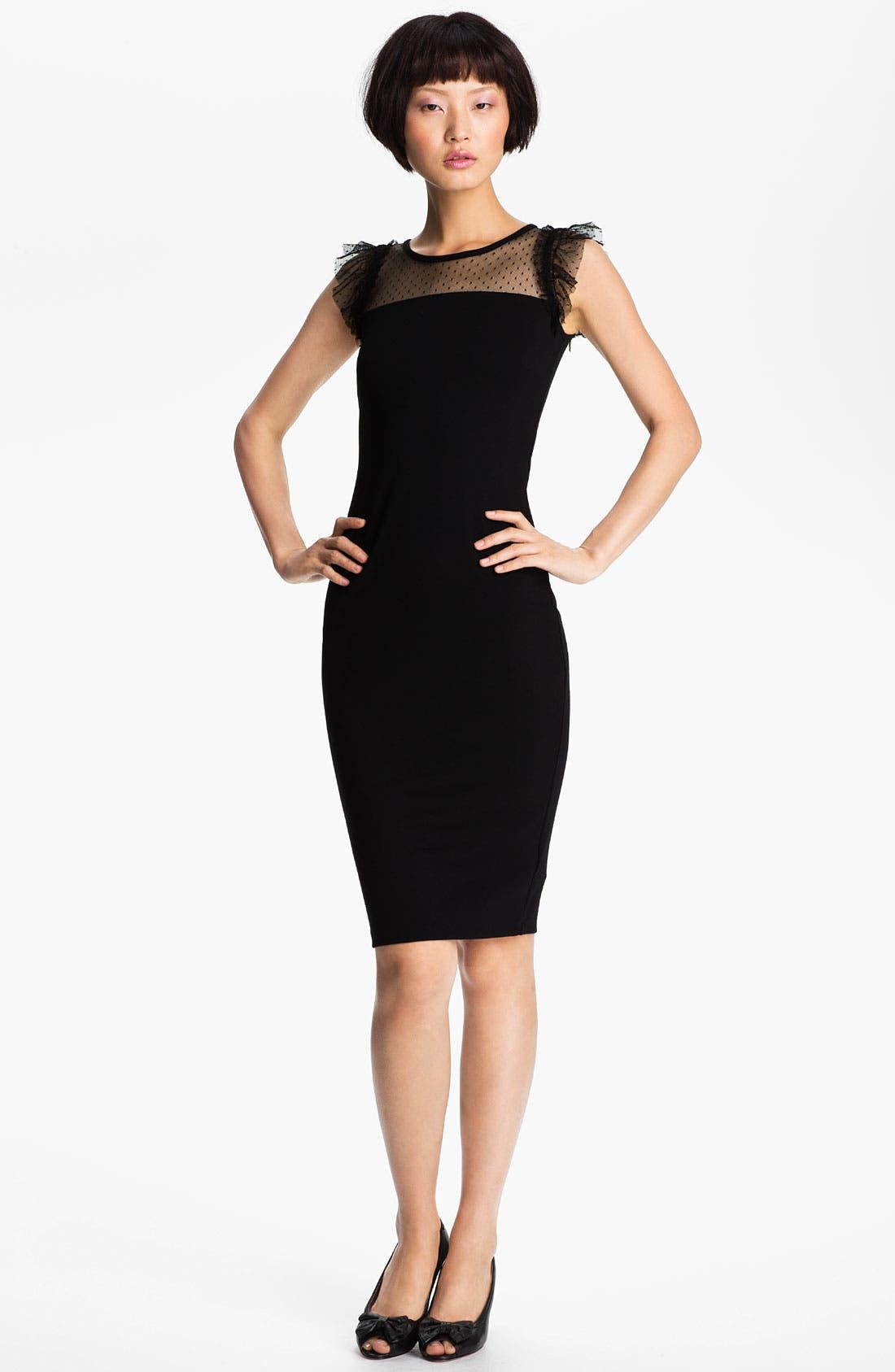 Main Image - RED Valentino Lace Yoke Jersey Dress