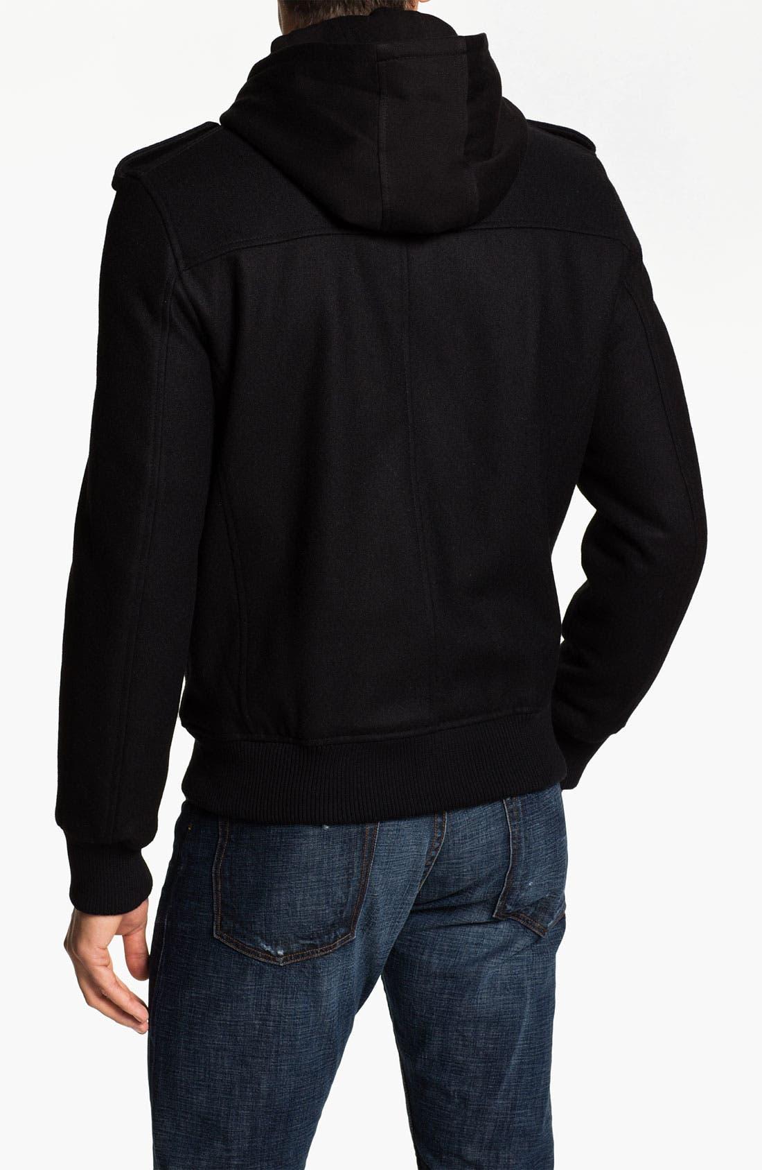 Alternate Image 2  - Black Rivet Wool Blend Bomber Jacket