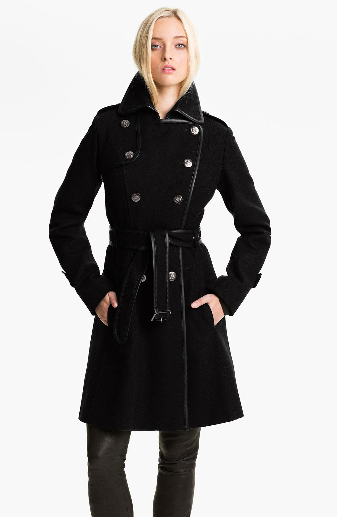 Double Breasted Wool Blend Coat,                             Main thumbnail 1, color,                             Black