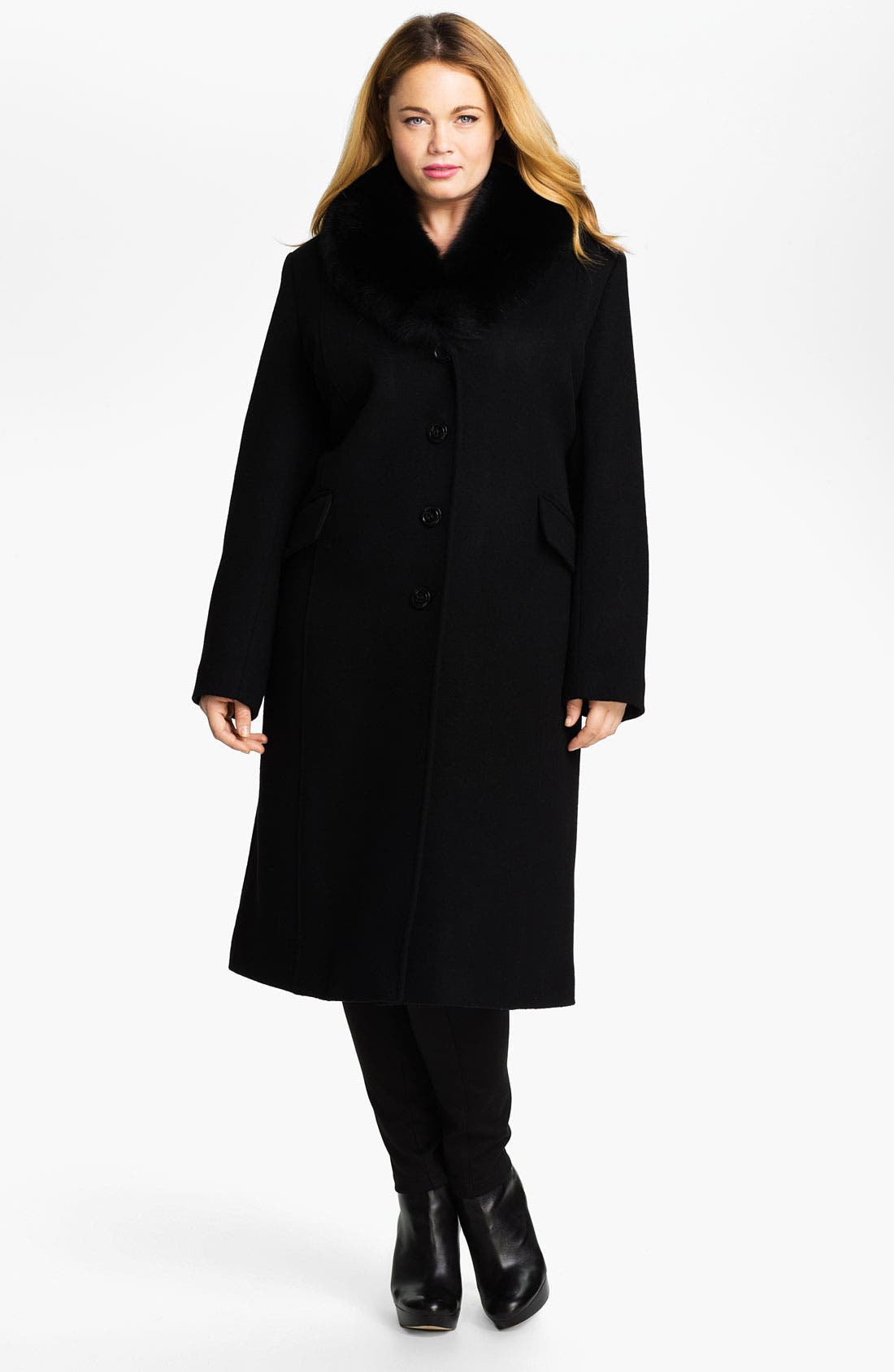 Main Image - Sachi Wool Blend Coat with Genuine Fox Fur (Plus)