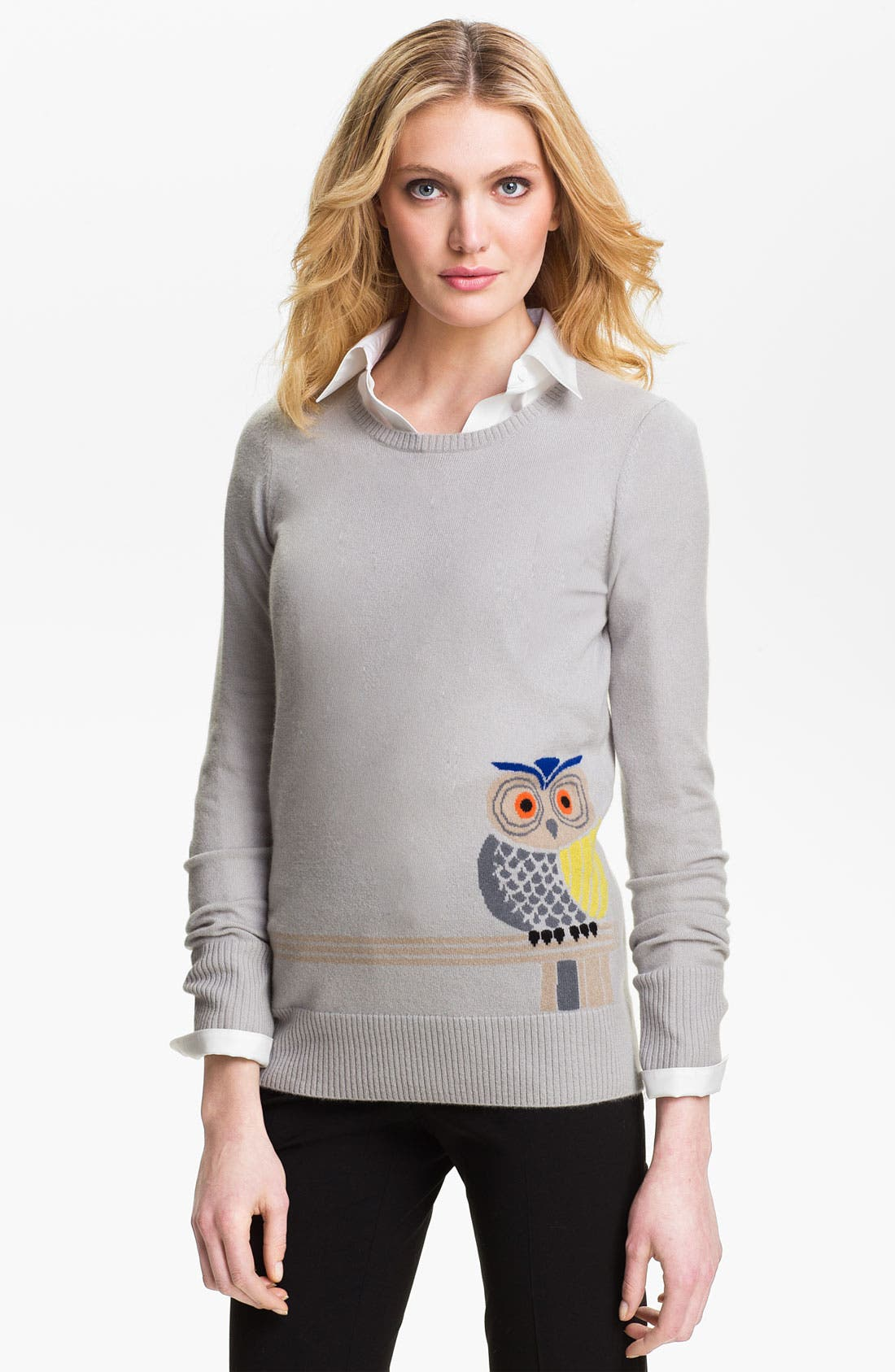 Alternate Image 1 Selected - Christopher Fischer Owl Intarsia Cashmere Sweater
