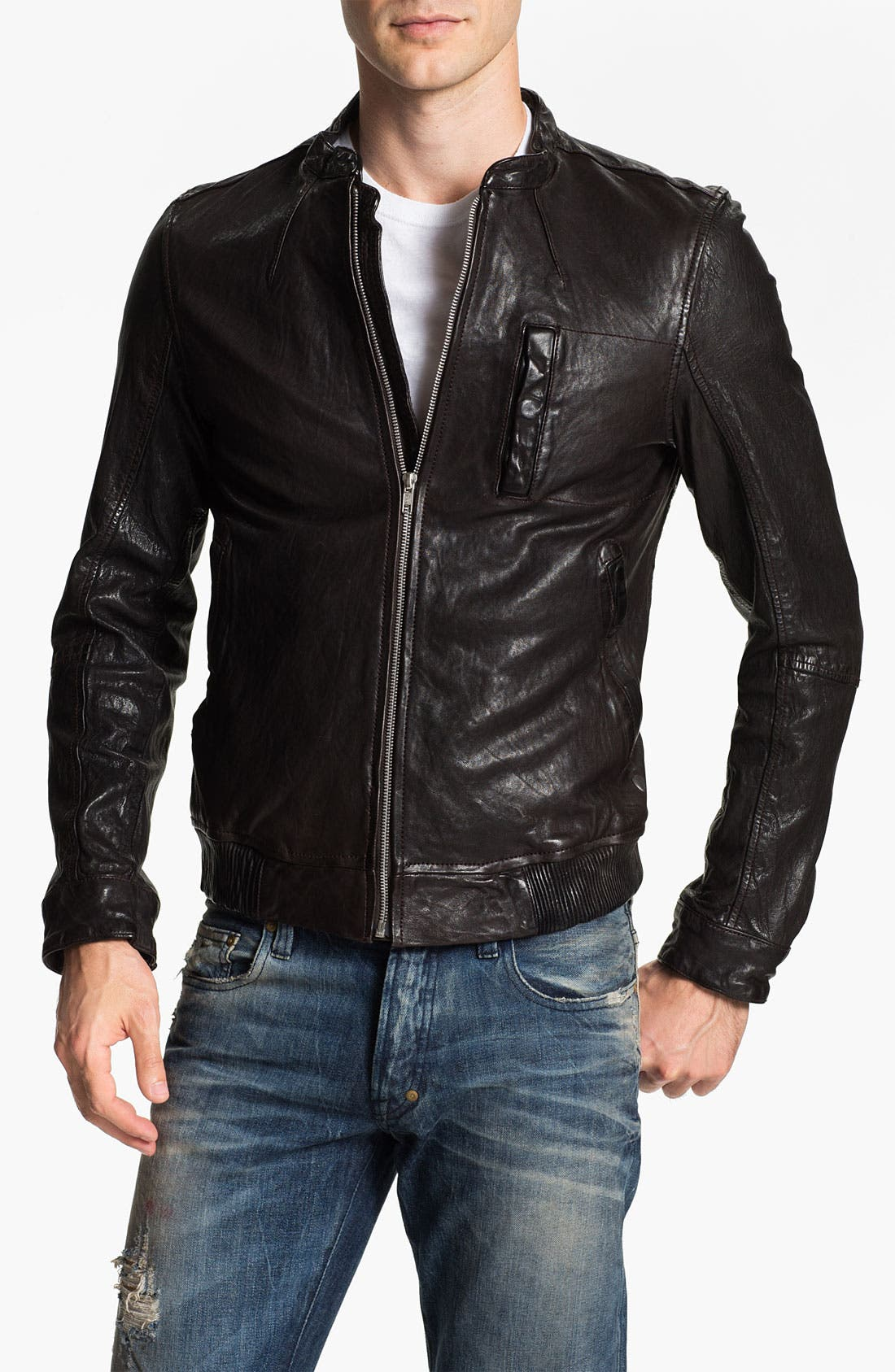 Main Image - PLECTRUM by Ben Sherman Leather Moto Jacket