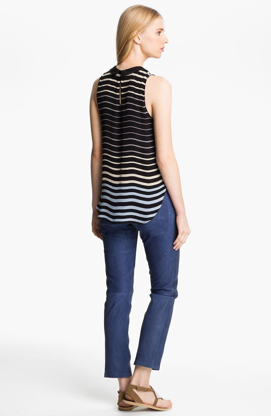 Alternate Image 2  - L'AGENCE Sleeveless Stripe Silk Blouse