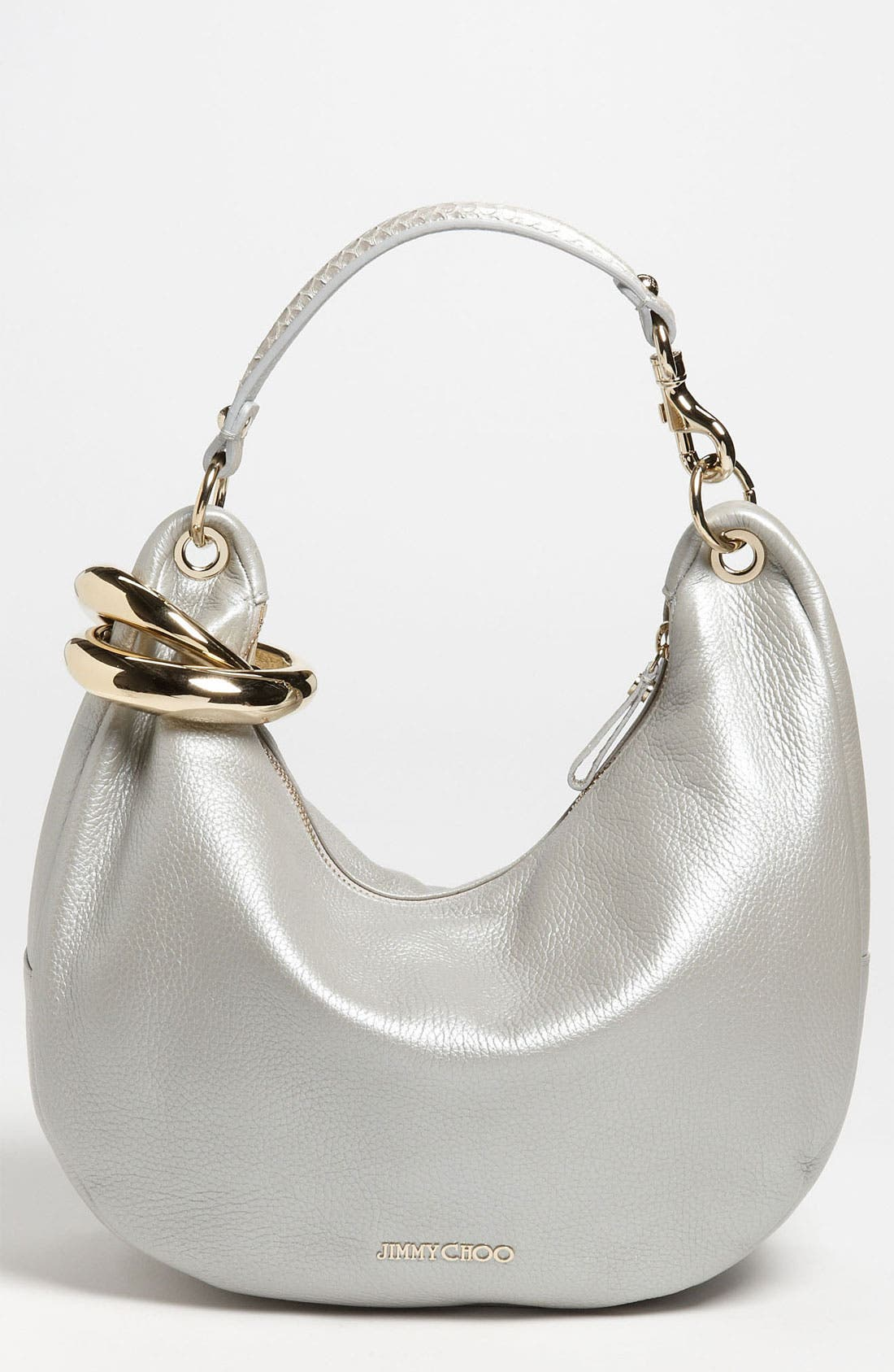 Main Image - Jimmy Choo 'Solar - Small' Pearlized Metallic Leather Hobo