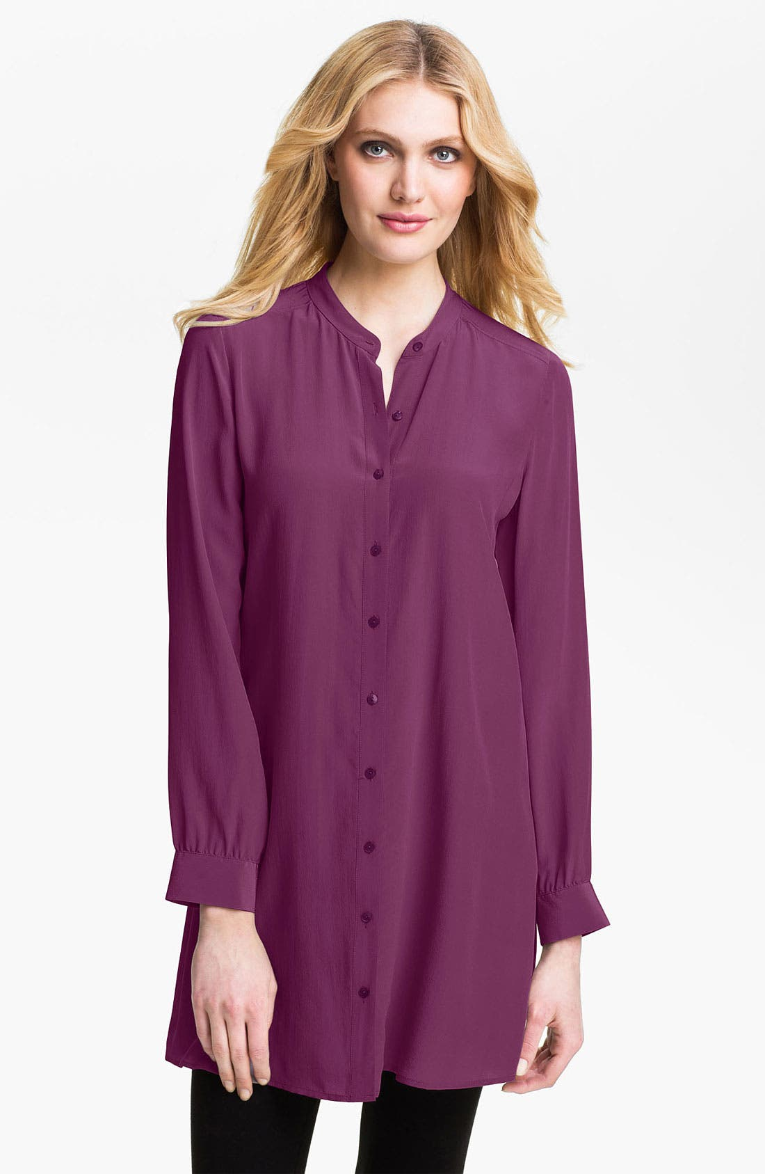 Alternate Image 1 Selected - Eileen Fisher Mandarin Collar Silk Tunic (Online Exclusive)