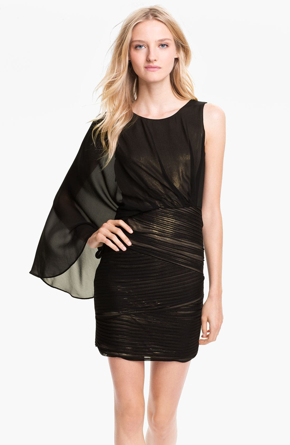 Main Image - BCBGMAXAZRIA One Shoulder Metallic Jersey & Chiffon Dress