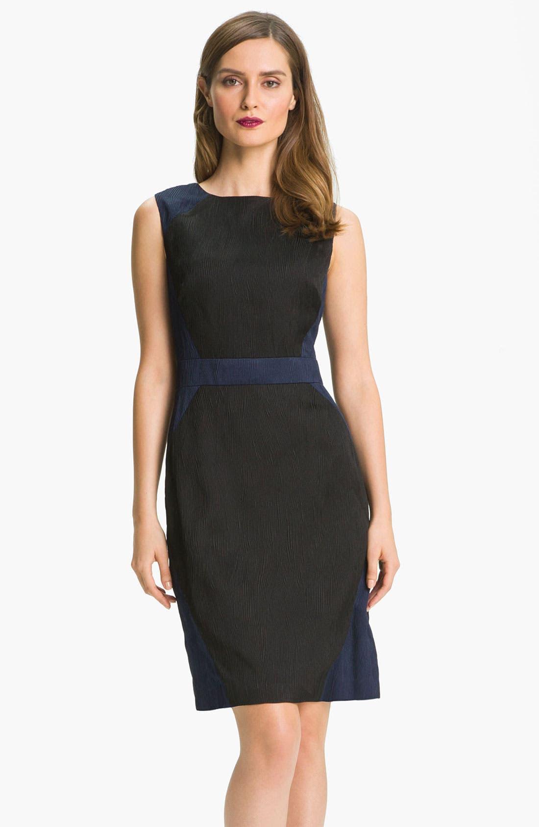 Main Image - Adrianna Papell Colorblock Jacquard Sheath Dress (Petite)