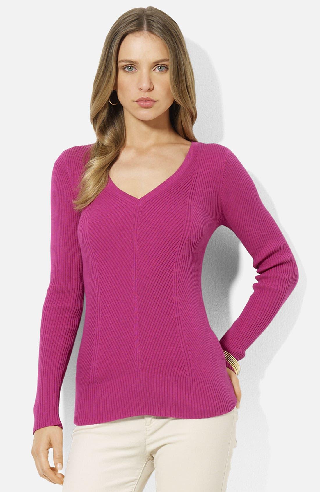 Main Image - Lauren Ralph Lauren V-Neck Metallic Knit Sweater (Petite)