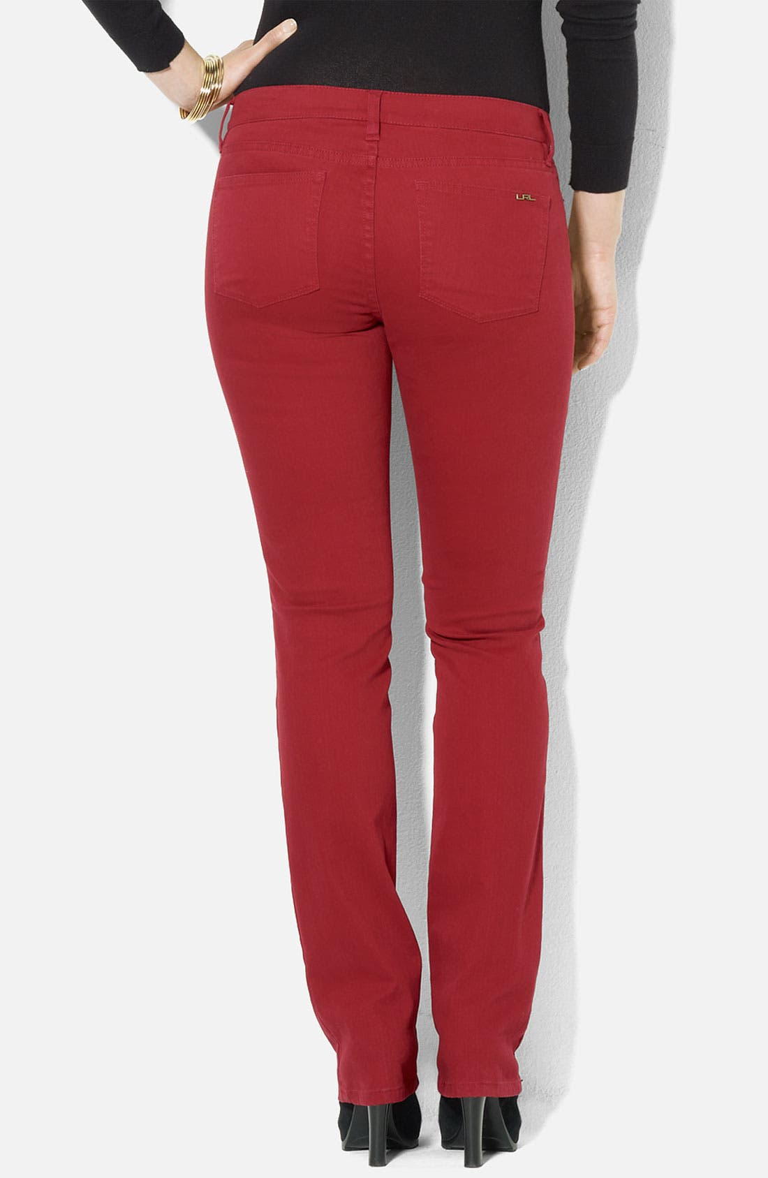 Alternate Image 2  - Lauren Ralph Lauren Slim Straight Leg Colored Jeans (Petite) (Online Exclusive)