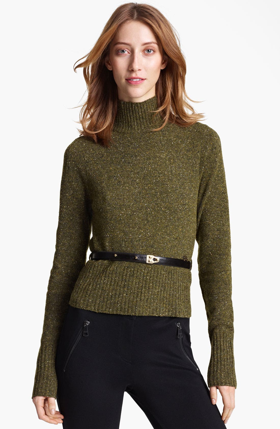 Alternate Image 1 Selected - Burberry London Belted Tweed Turtleneck