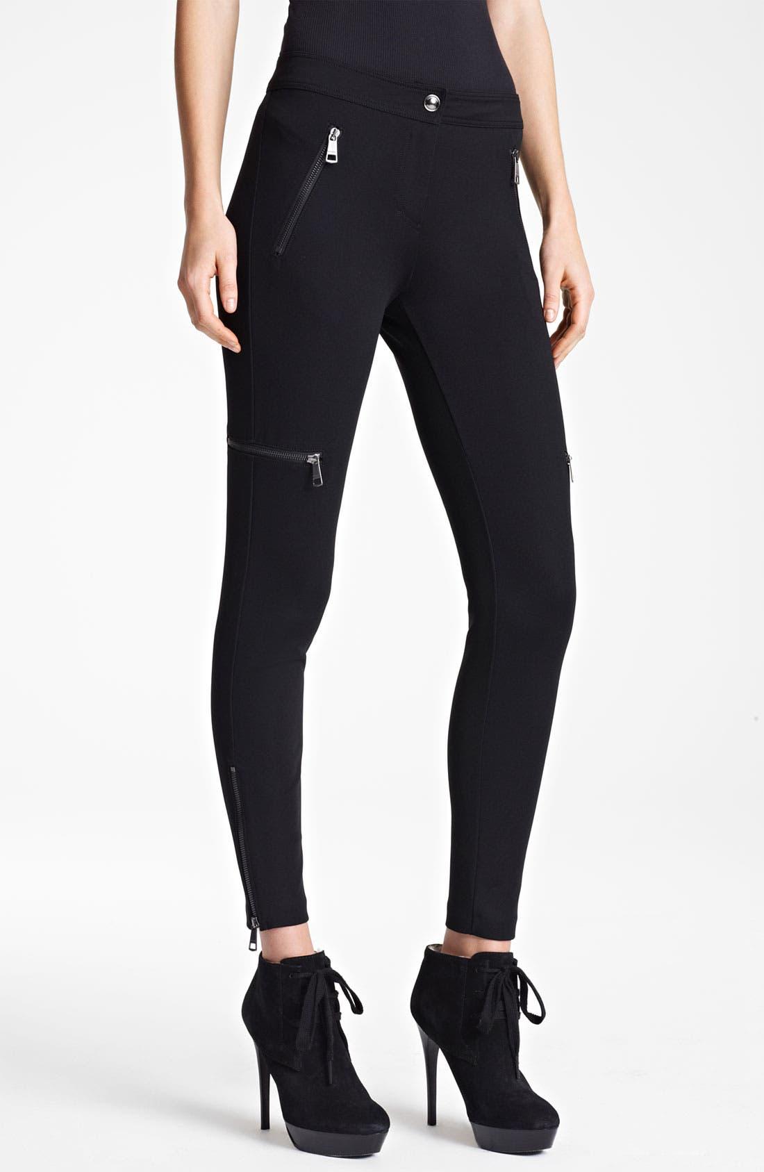Main Image - Burberry London Zip Detail Jersey Leggings