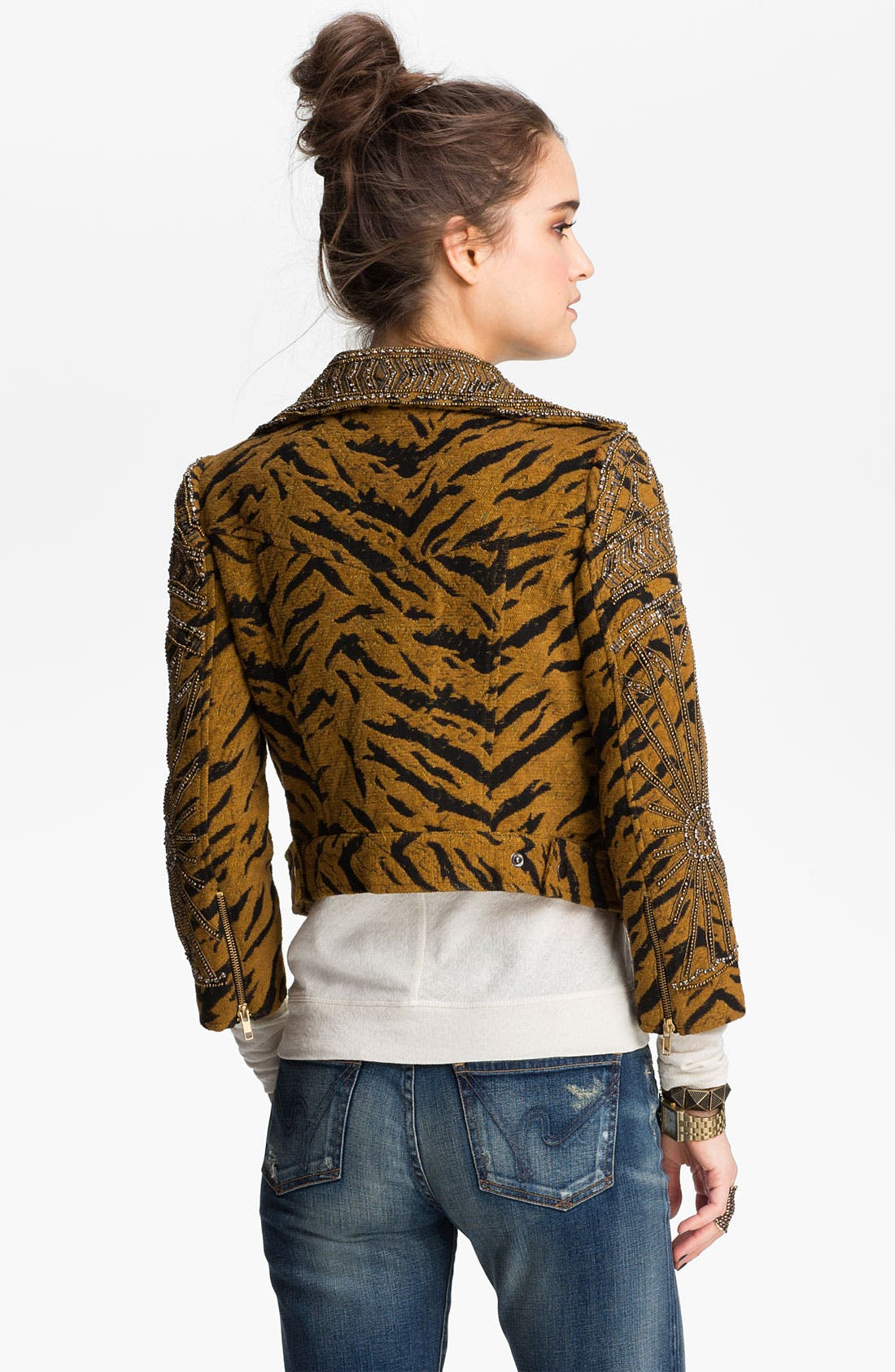 Alternate Image 2  - Free People Embellished Tiger Jacquard Biker Jacket