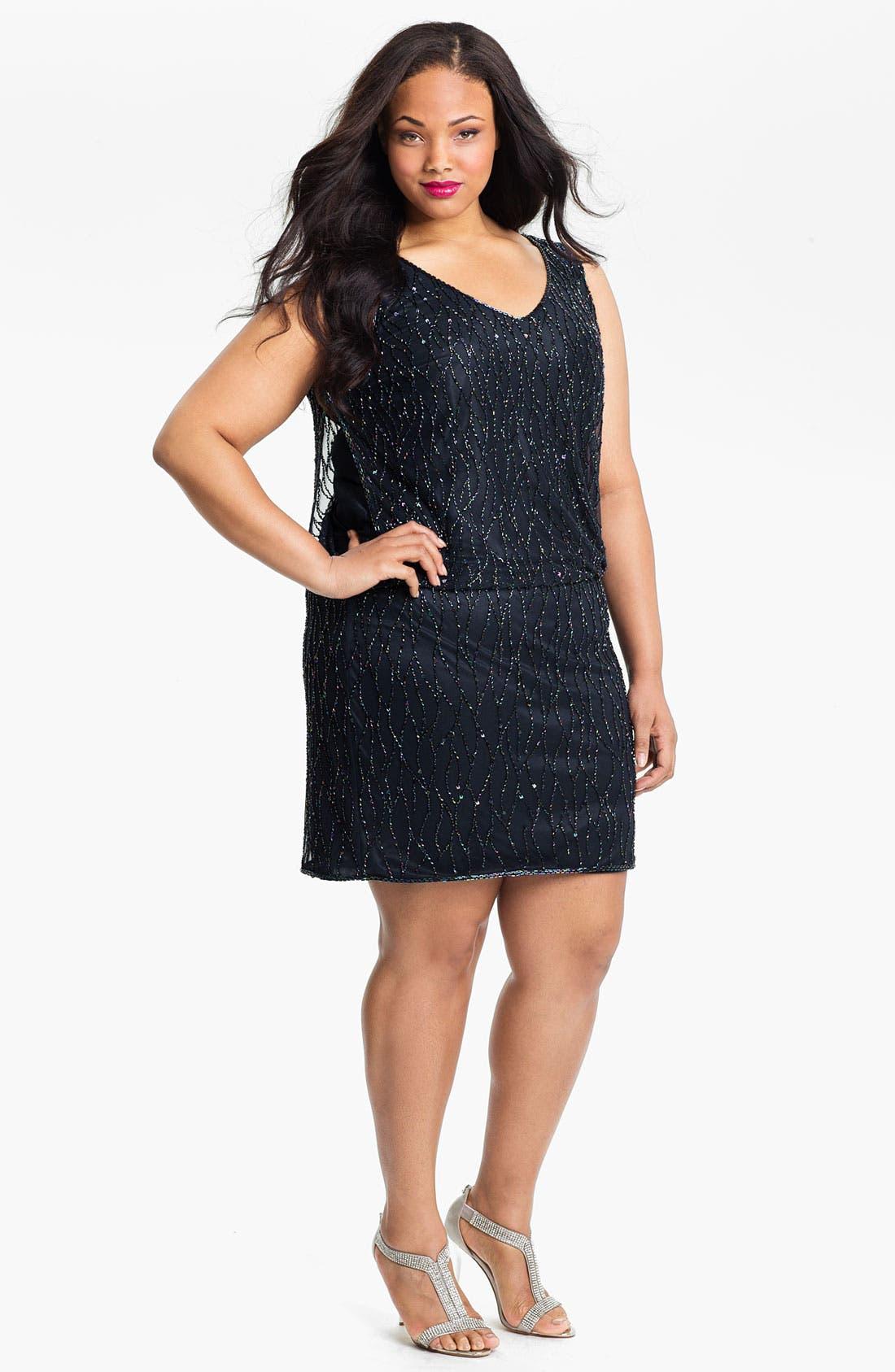 Main Image - J Kara Sleeveless Beaded Blouson Dress (Plus)