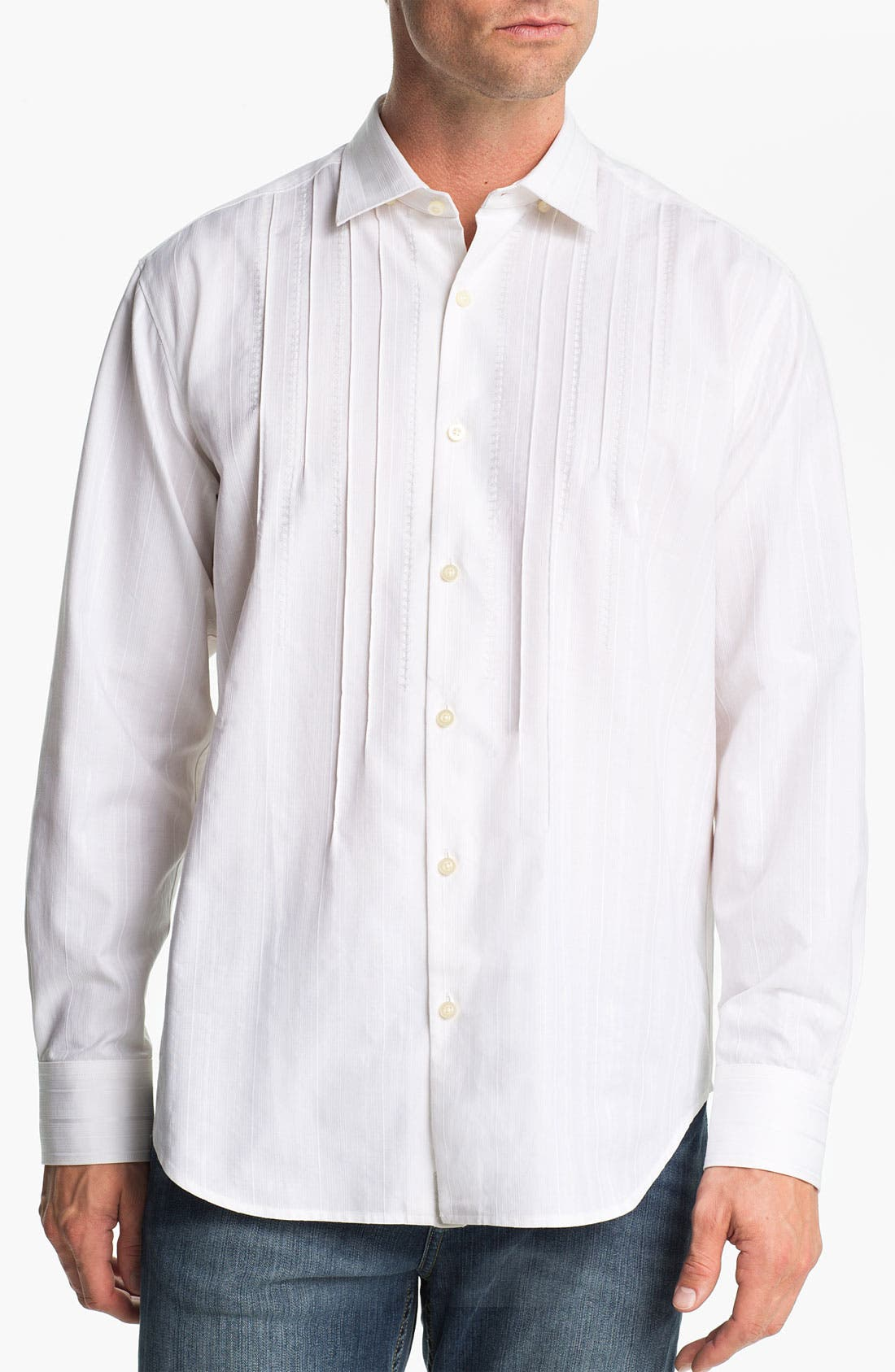 Alternate Image 1 Selected - Tommy Bahama 'Pintux' Cotton & Silk Sport Shirt
