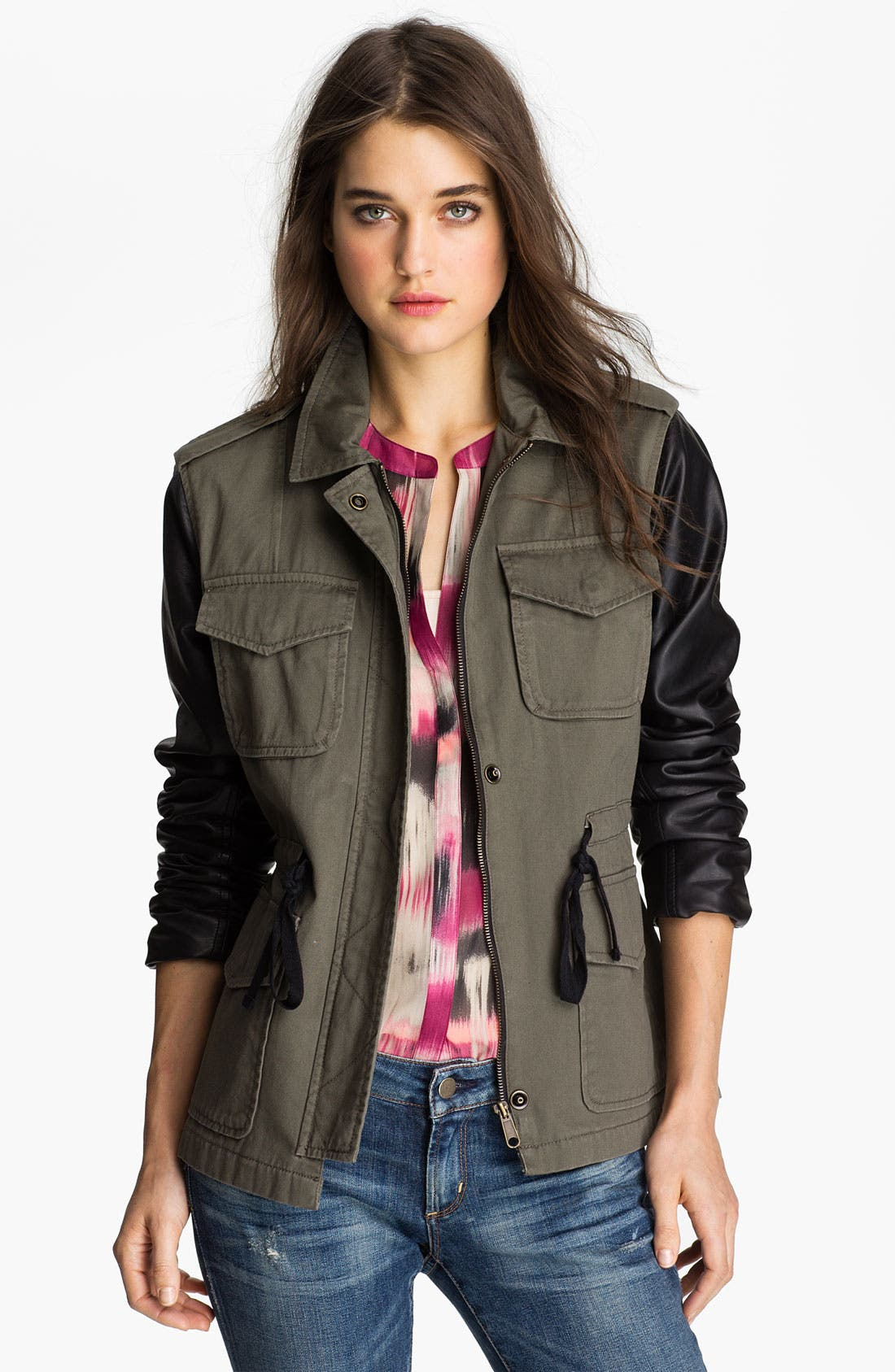 Main Image - Sanctuary Faux Leather Sleeve Army Jacket