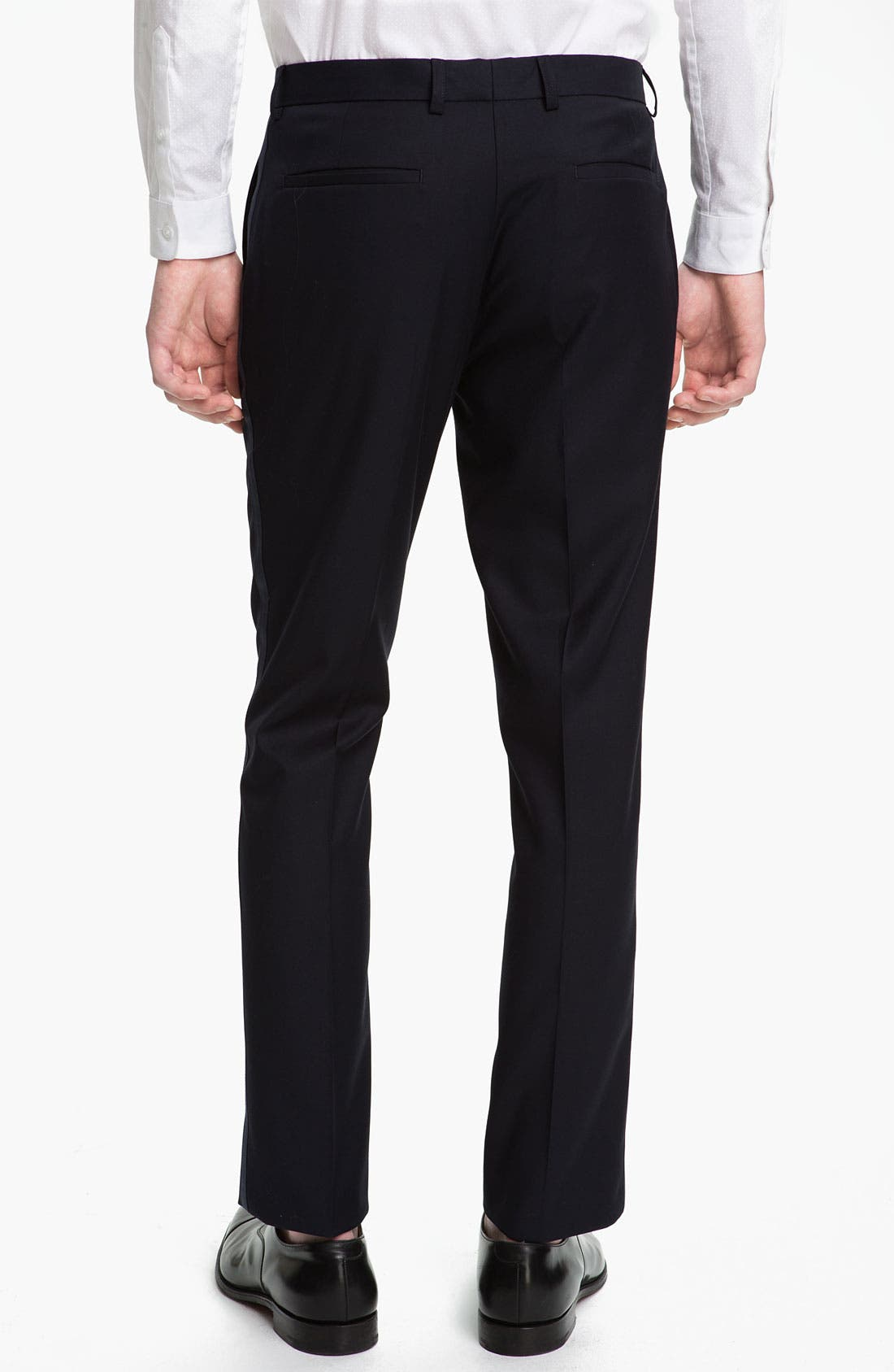 Alternate Image 2  - Topman Navy Satin Trim Trousers