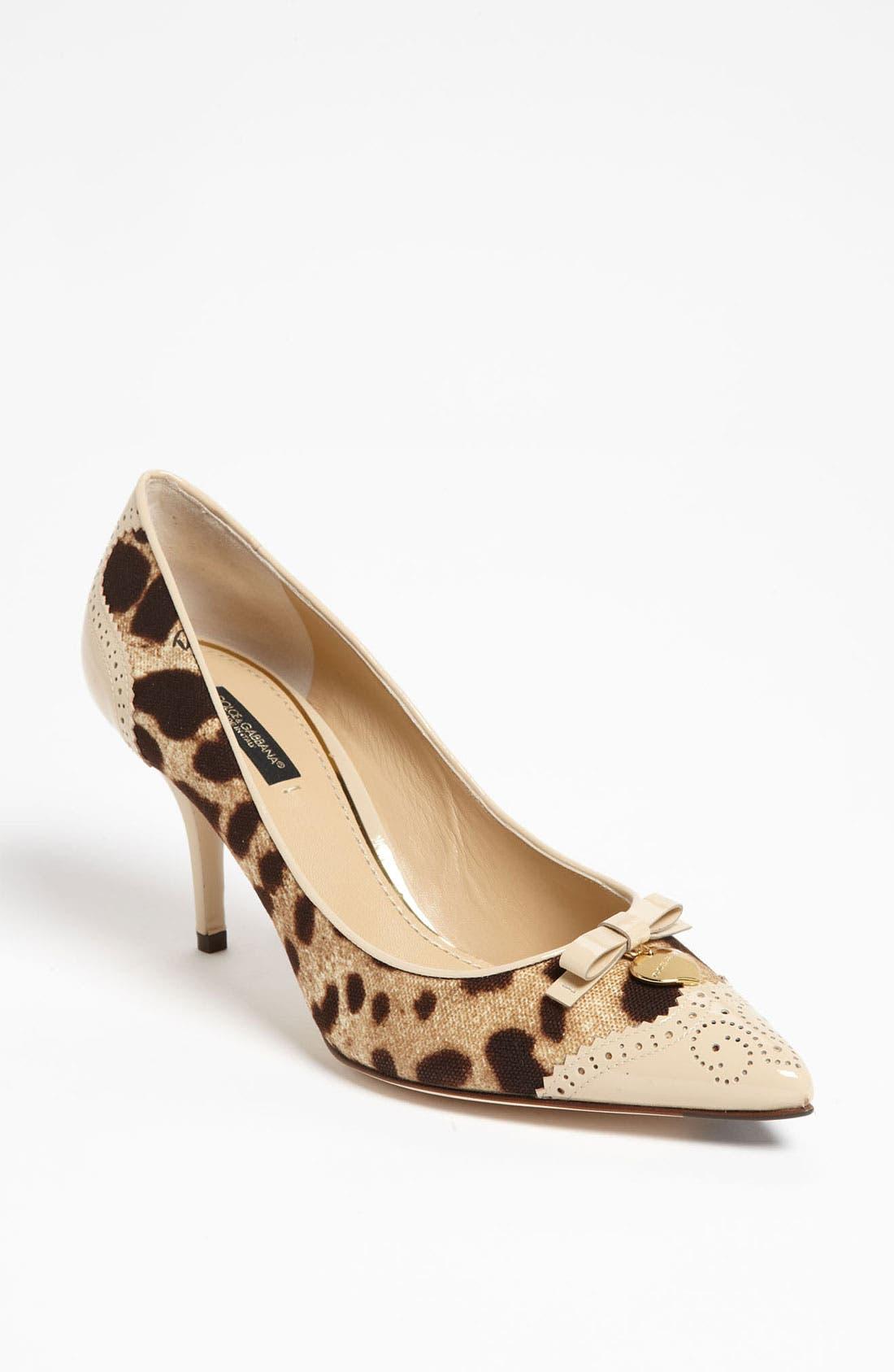 Main Image - Dolce&Gabbana Leopard Print Bow Pump