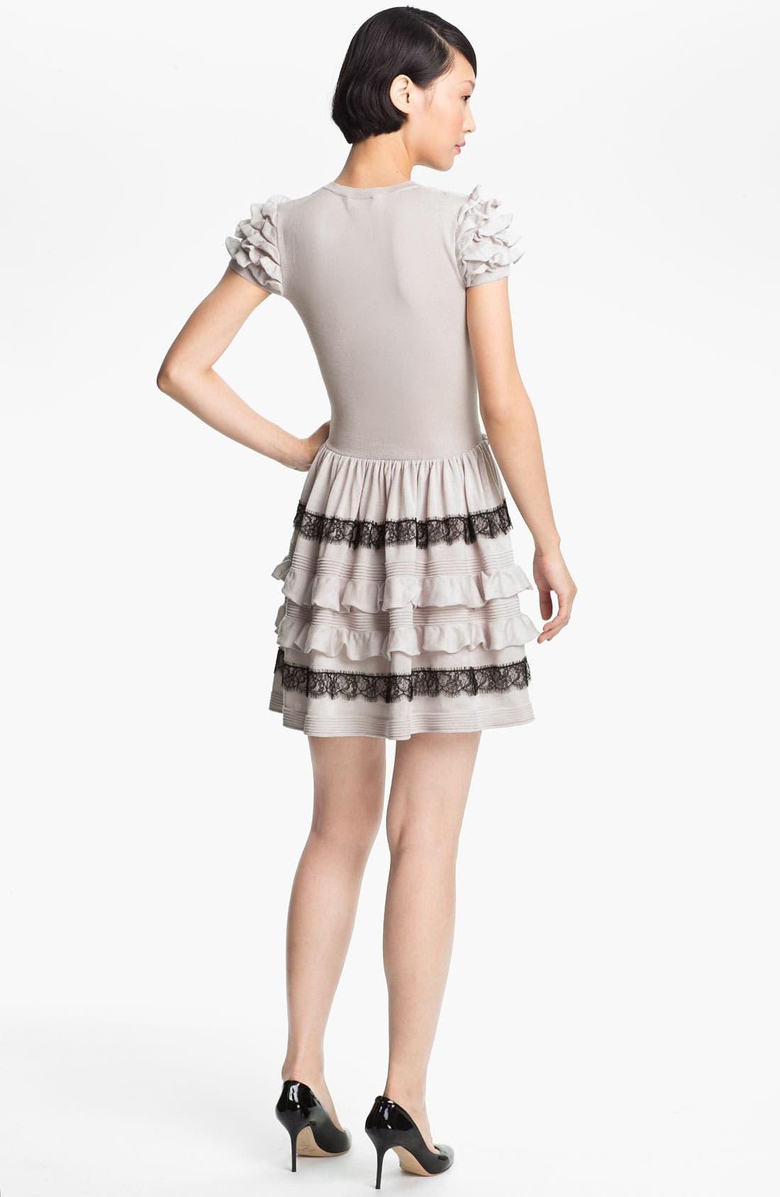 Alternate Image 2  - RED Valentino Ruffle & Lace Knit Dress
