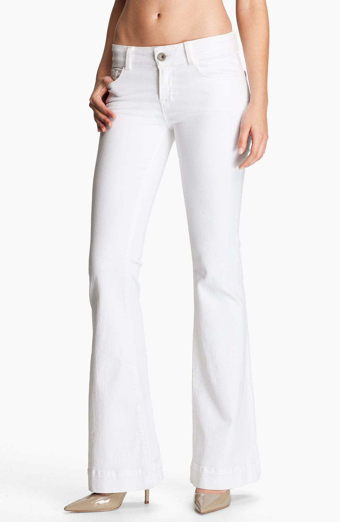 Main Image - J Brand Low Rise Bell Bottom Stretch Jeans (Blanc)