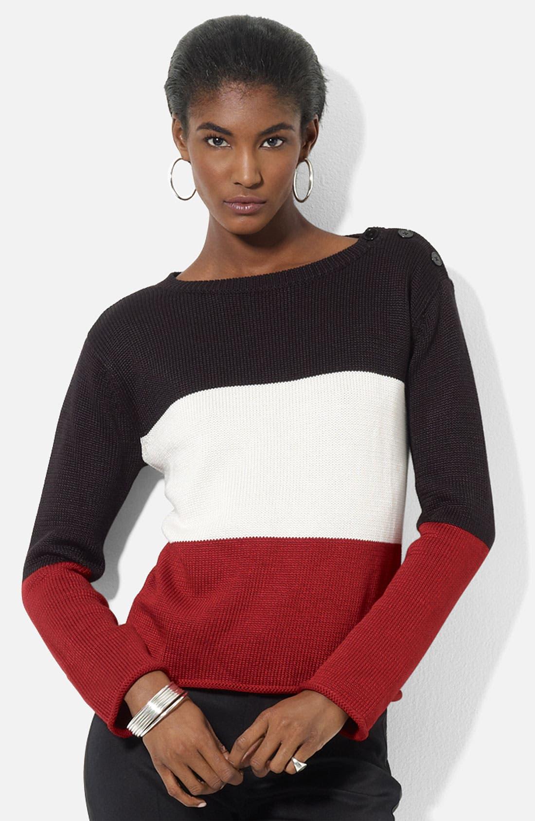 Main Image - Lauren Ralph Lauren Button Shoulder Sweater