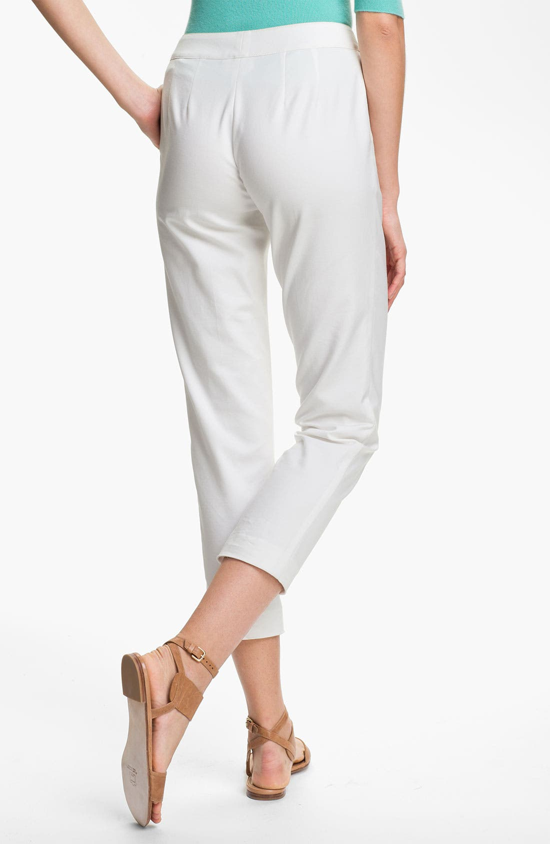 Alternate Image 2  - St. John Collection 'Emma' Double Weave Stretch Cotton Crop Pants