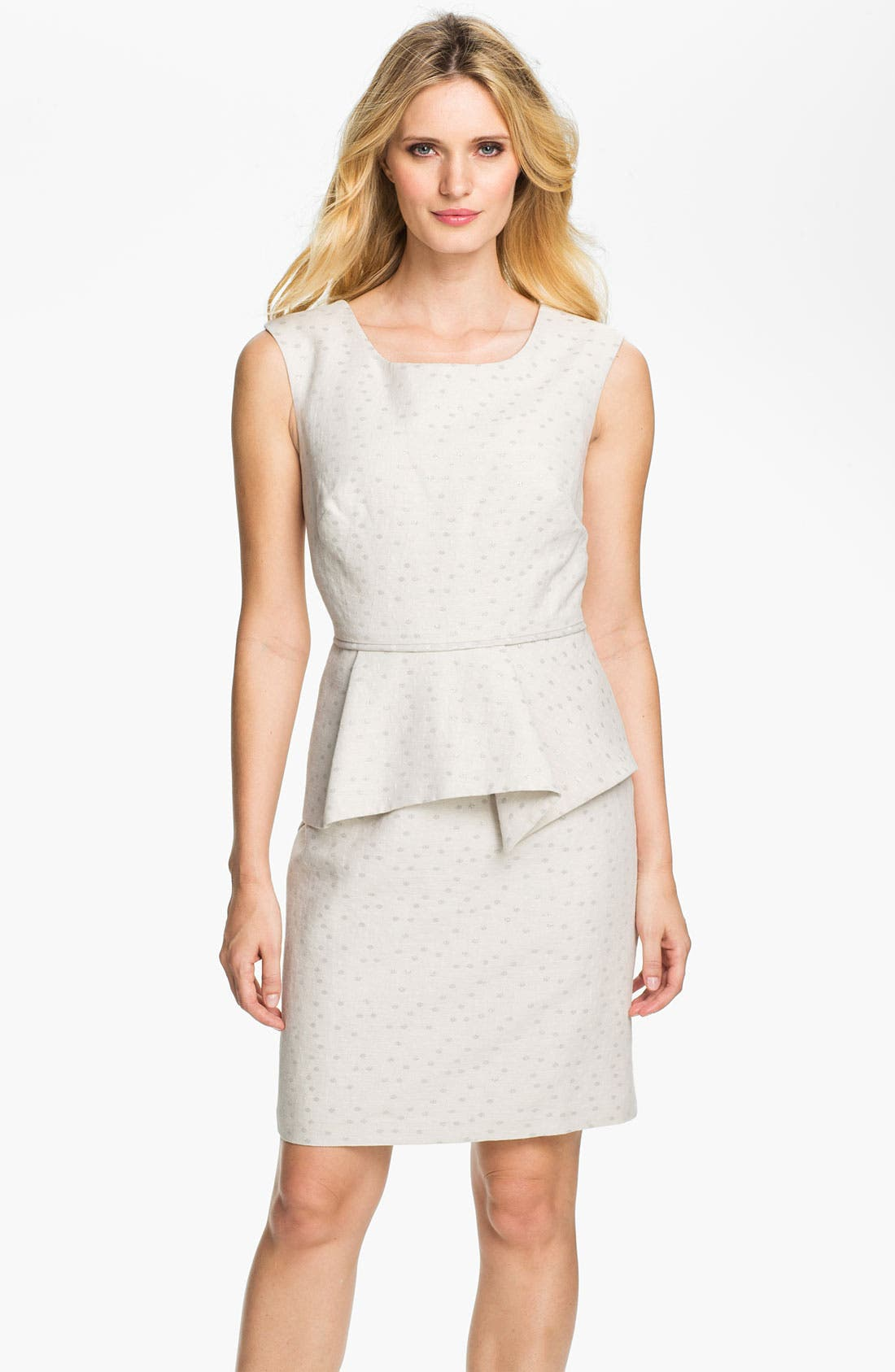 Alternate Image 1 Selected - Donna Ricco Metallic Polka Dot Peplum Dress