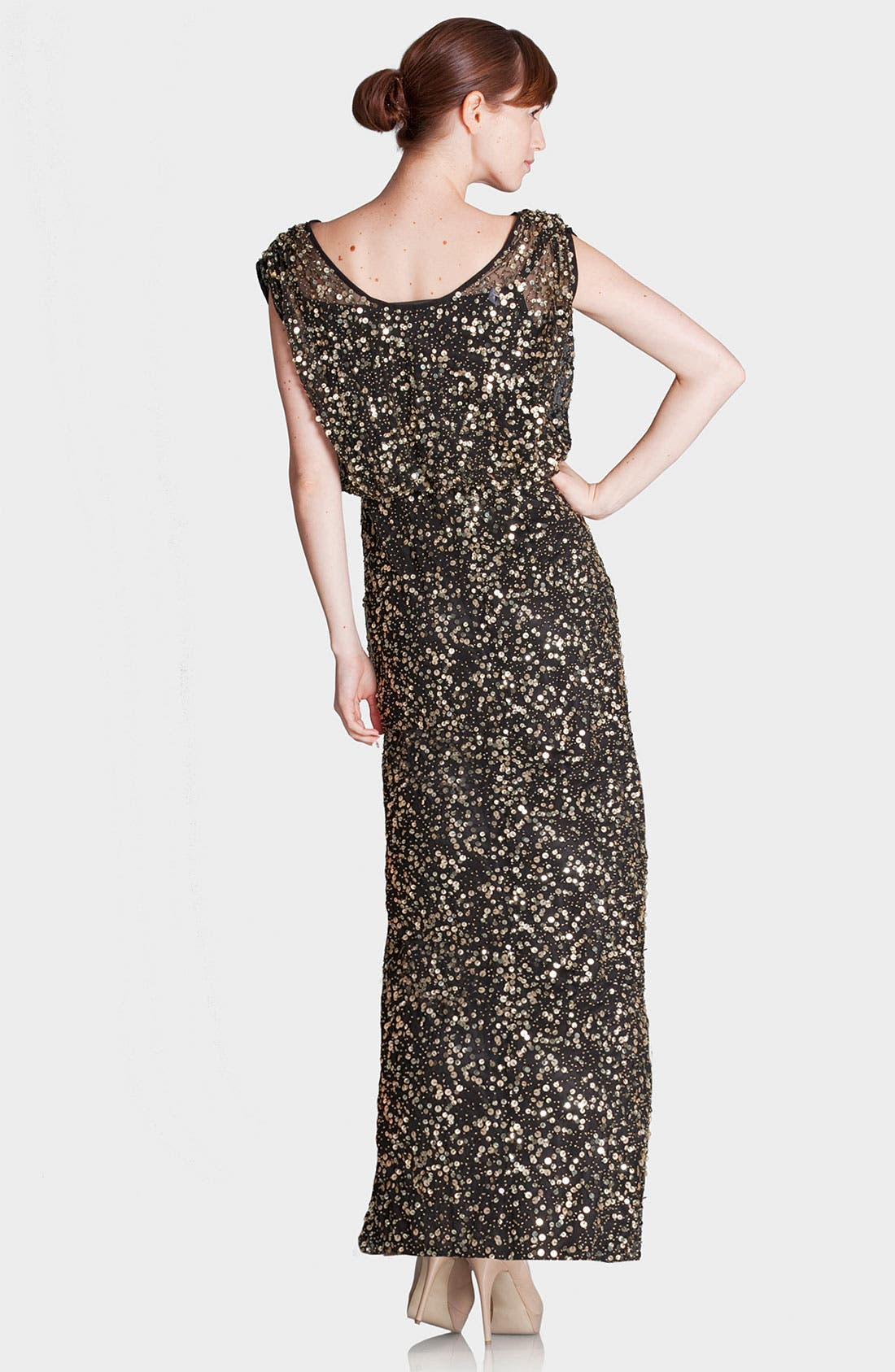 Alternate Image 2  - JS Collections Blouson Bodice Sequin Mesh Gown