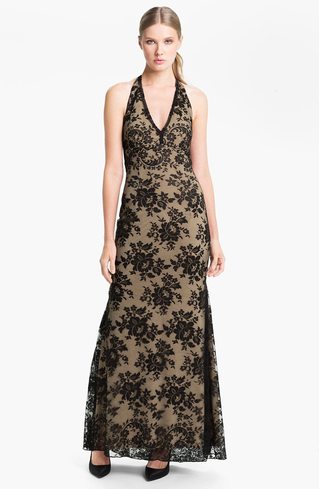 Main Image - Jessica McClintock V-Neck Lace Halter Gown
