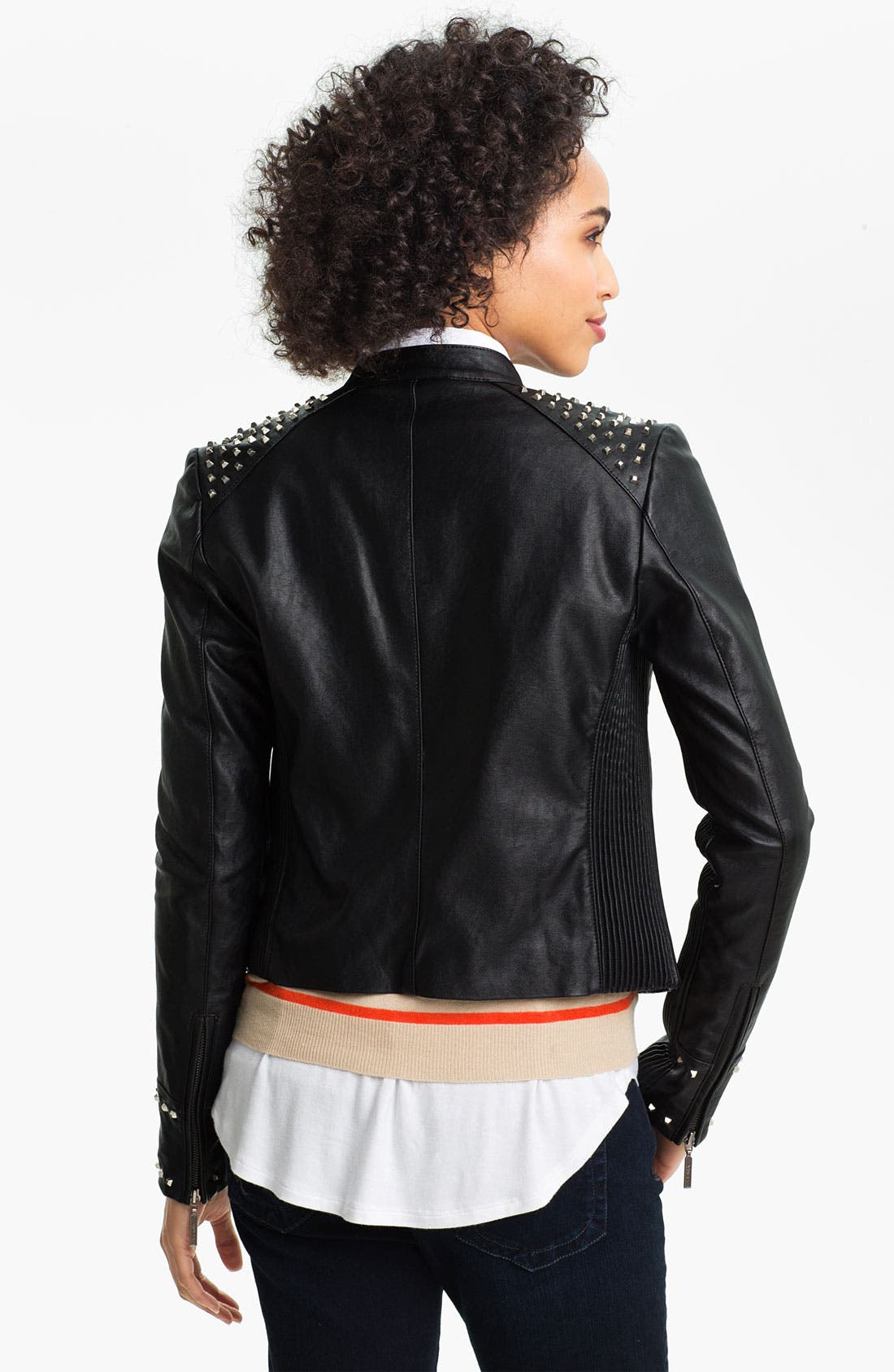 Alternate Image 2  - Two by Vince Camuto Studded Faux Leather Moto Jacket