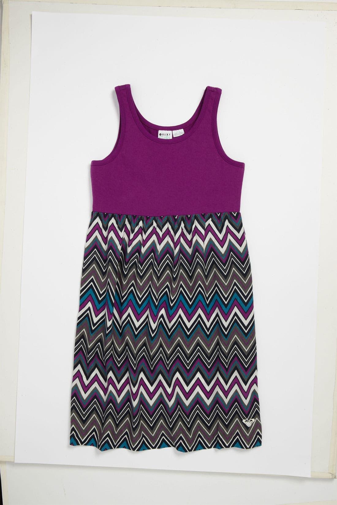 Main Image - Floral Stripe Dress (Big Girls)