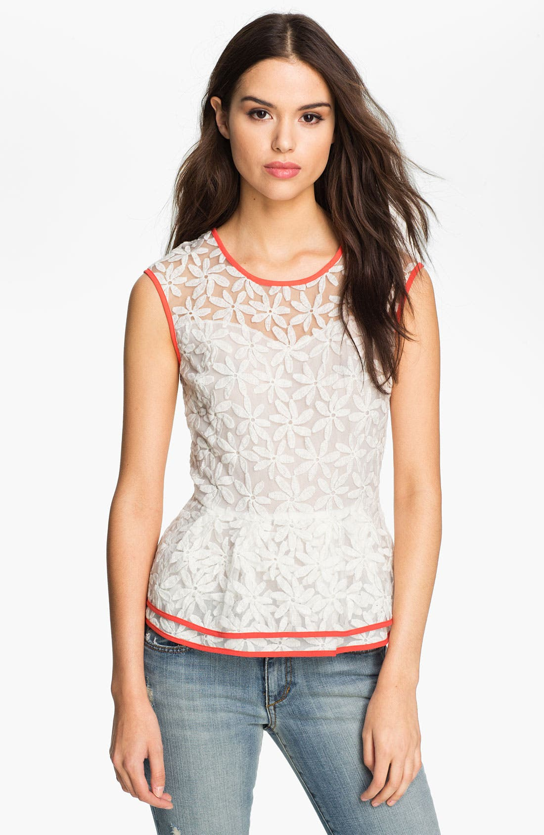 Alternate Image 1 Selected - Pure Sugar Daisy Lace Peplum Top